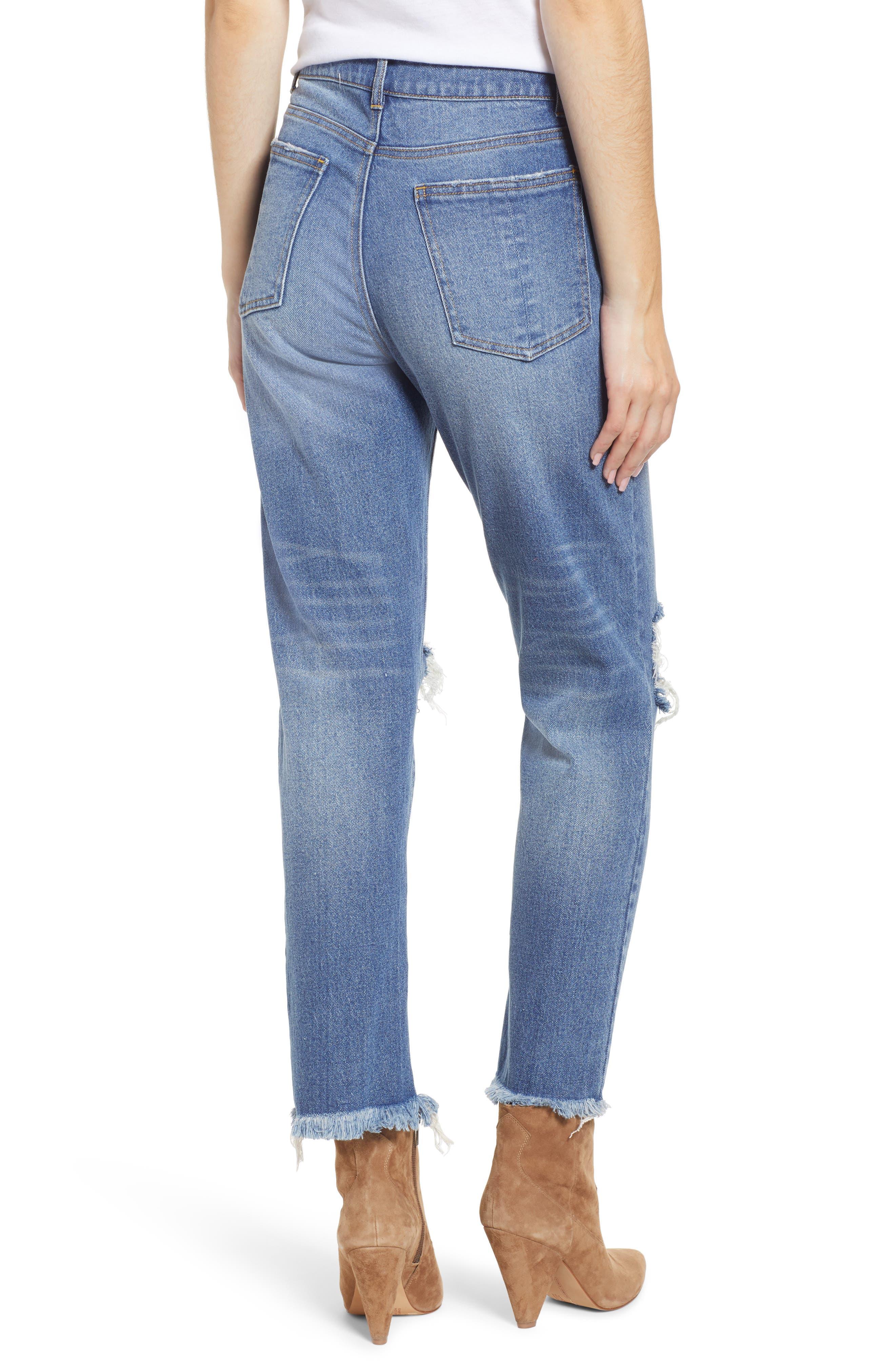 PROSPERITY DENIM, Ripped Ankle Straight Leg Jeans, Alternate thumbnail 2, color, VINTAGE WASH