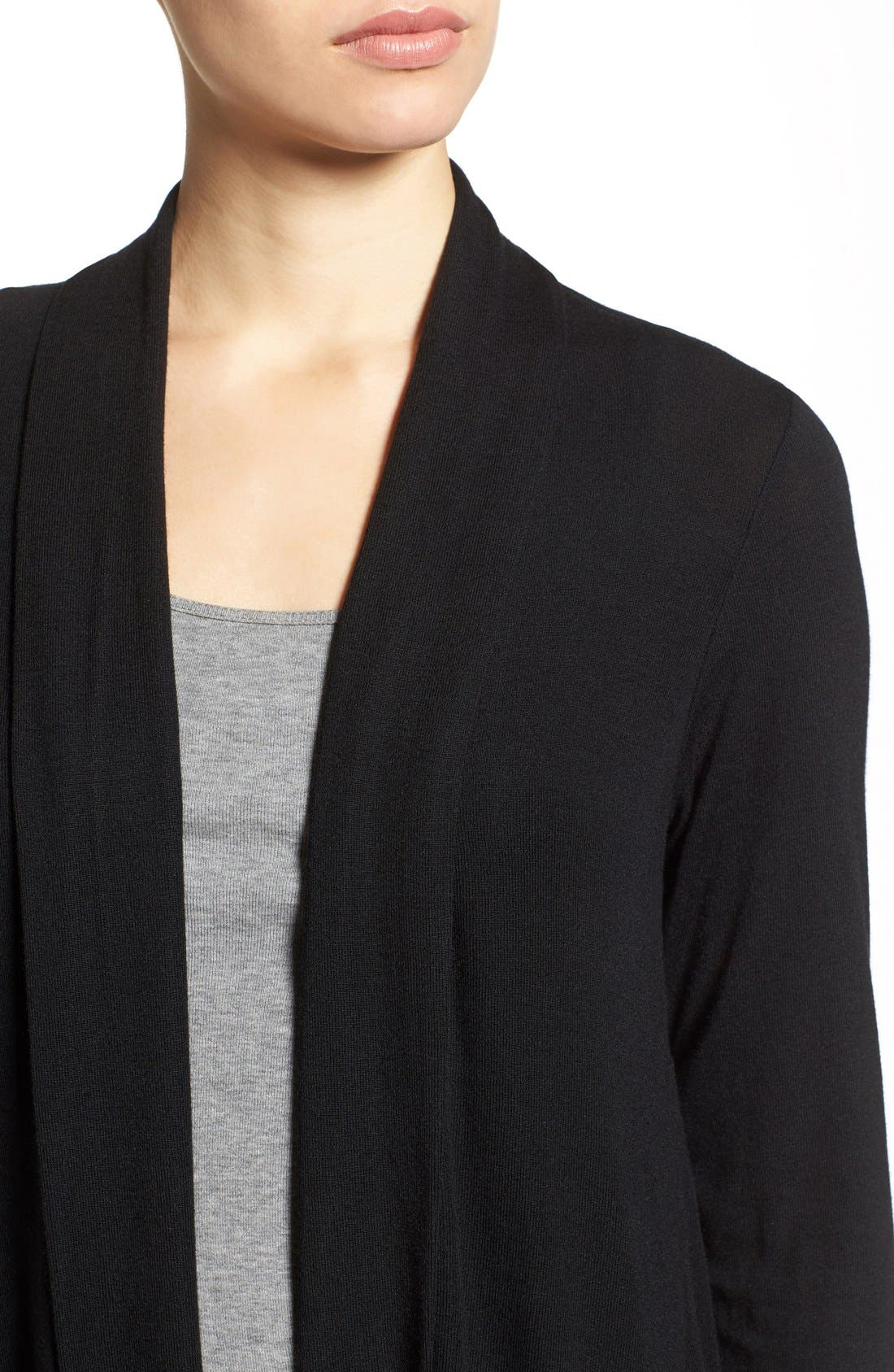 BOBEAU, High/Low Jersey Cardigan, Alternate thumbnail 2, color, 001