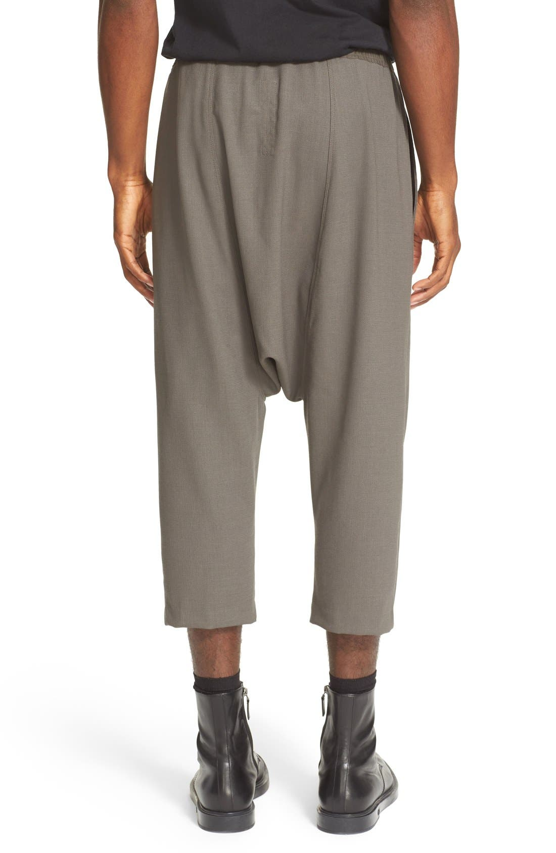 RICK OWENS, Drop Crotch Wool Pants, Alternate thumbnail 6, color, 021