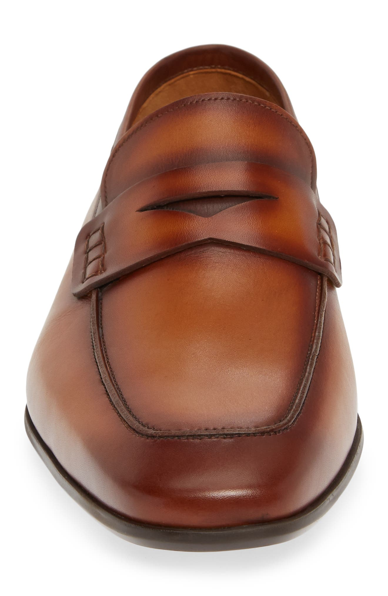 MAGNANNI, 'Ramiro II' Penny Loafer, Alternate thumbnail 4, color, BROWN LEATHER