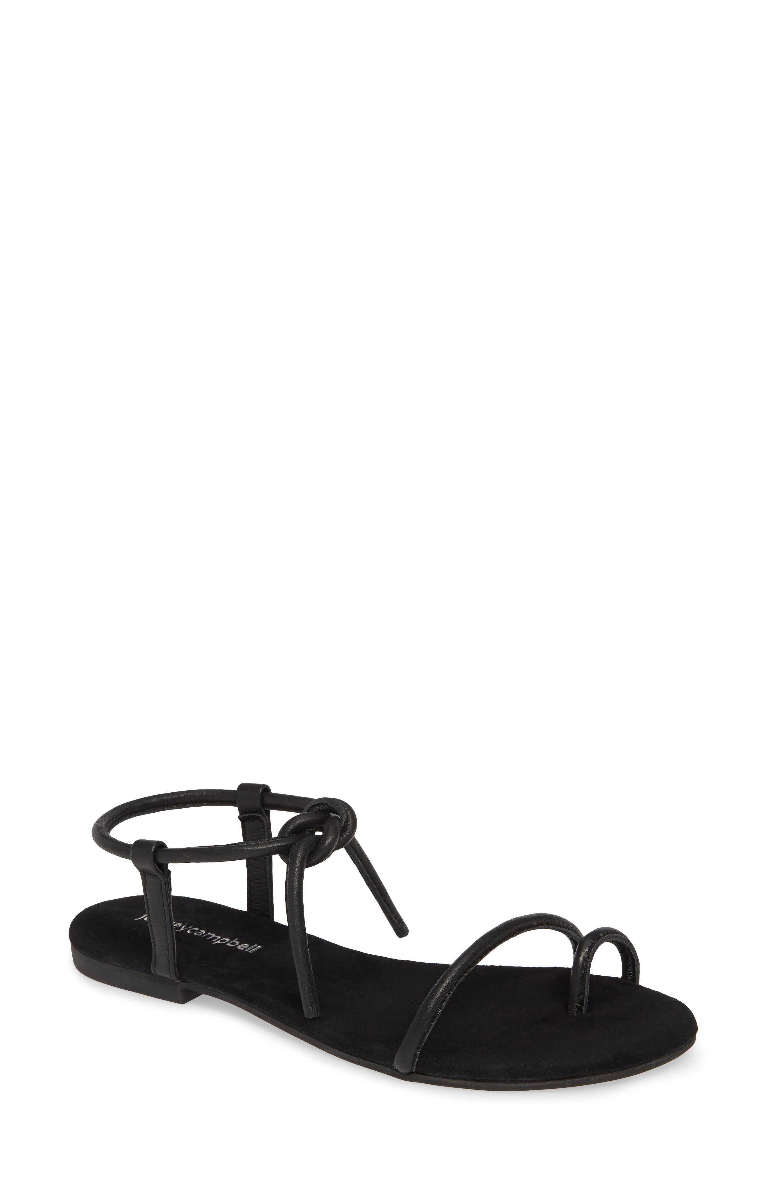 JEFFREY CAMPBELL Aster Tie Sandal, Main, color, BLACK LEATHER