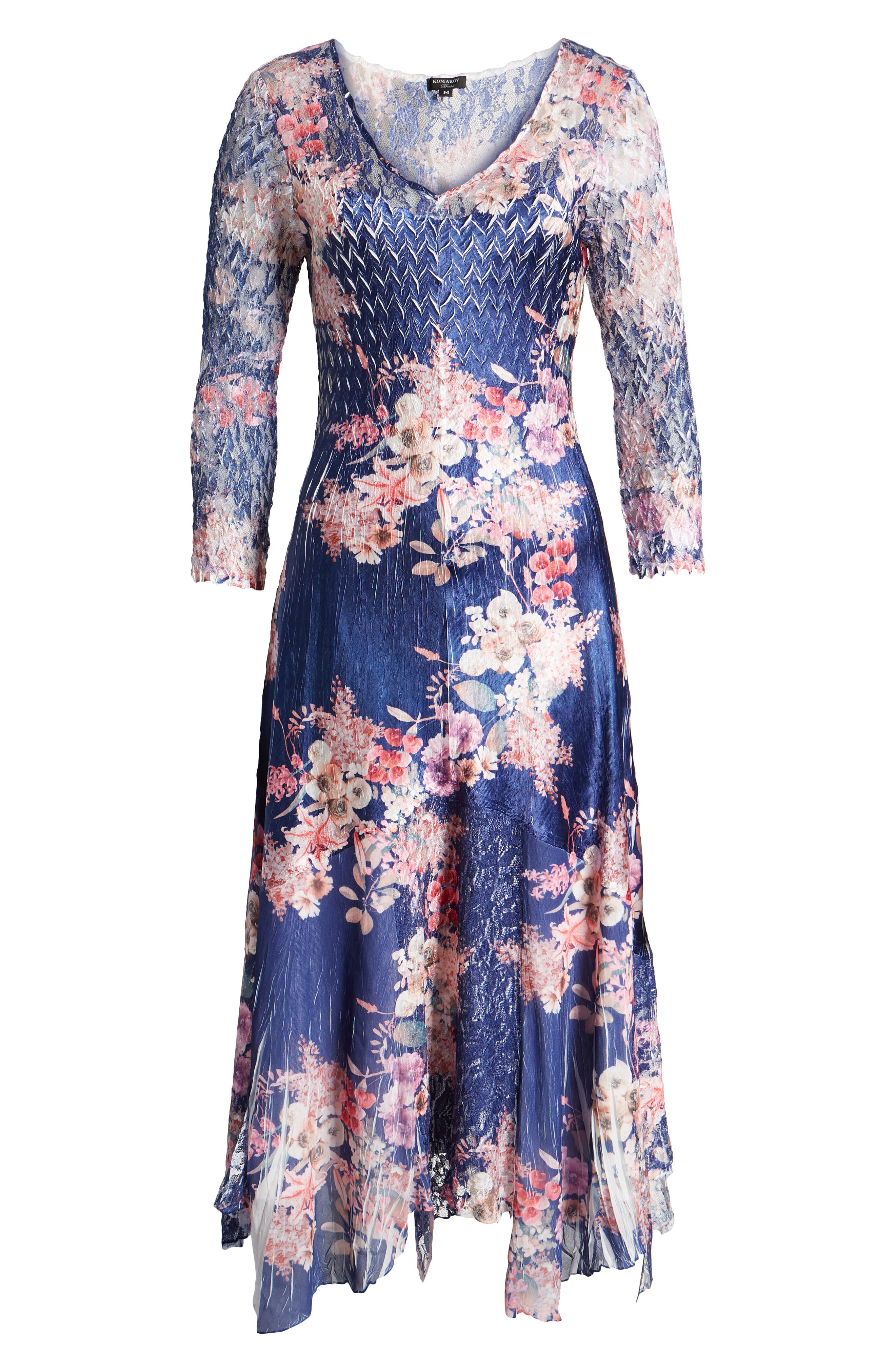 KOMAROV, Asymmetrical Charmeuse & Chiffon Dress, Alternate thumbnail 5, color, ENGLISH BLOSSOM