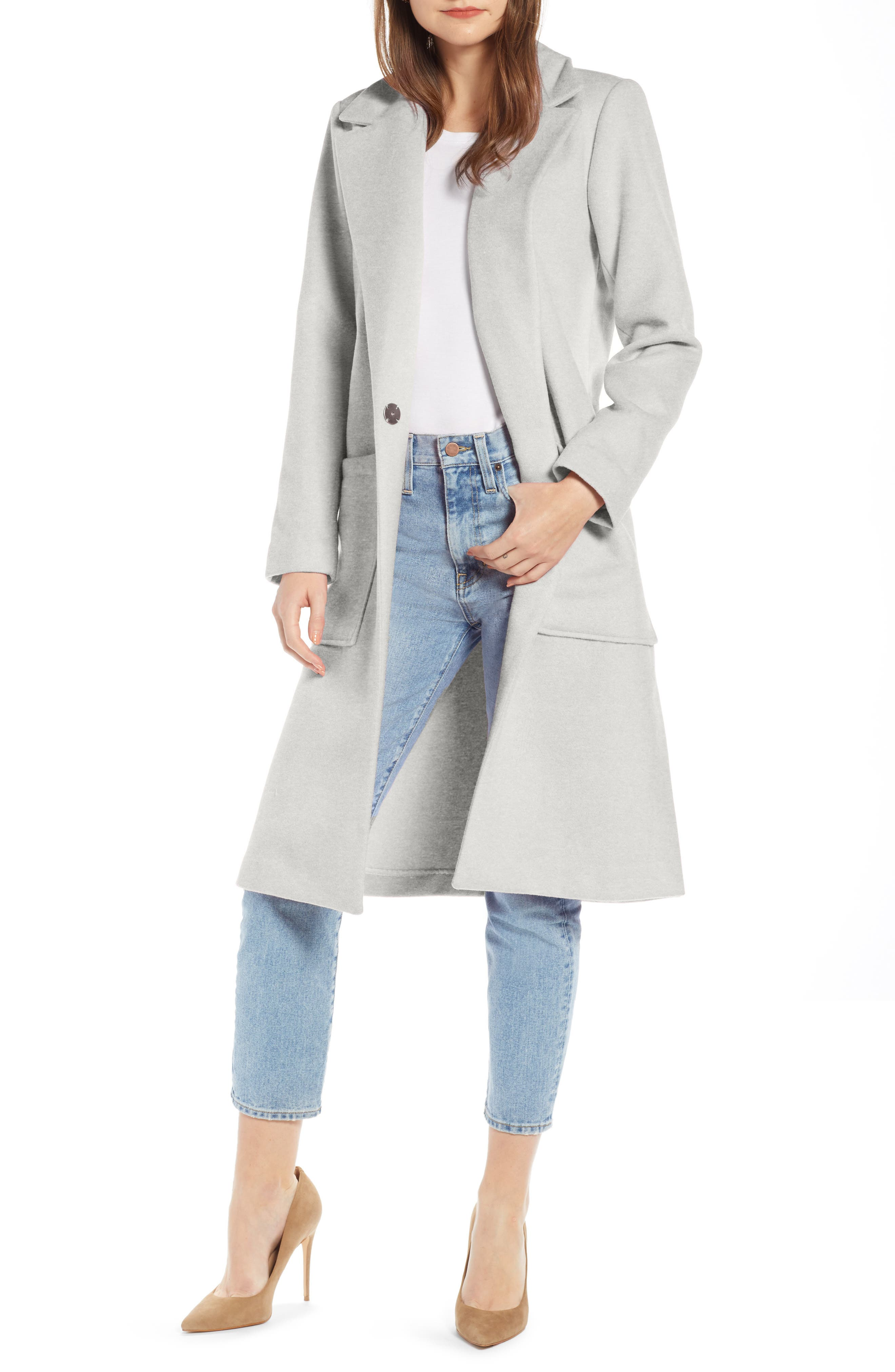 SOMETHING NAVY Patch Pocket Coat, Main, color, GREY HEATHER