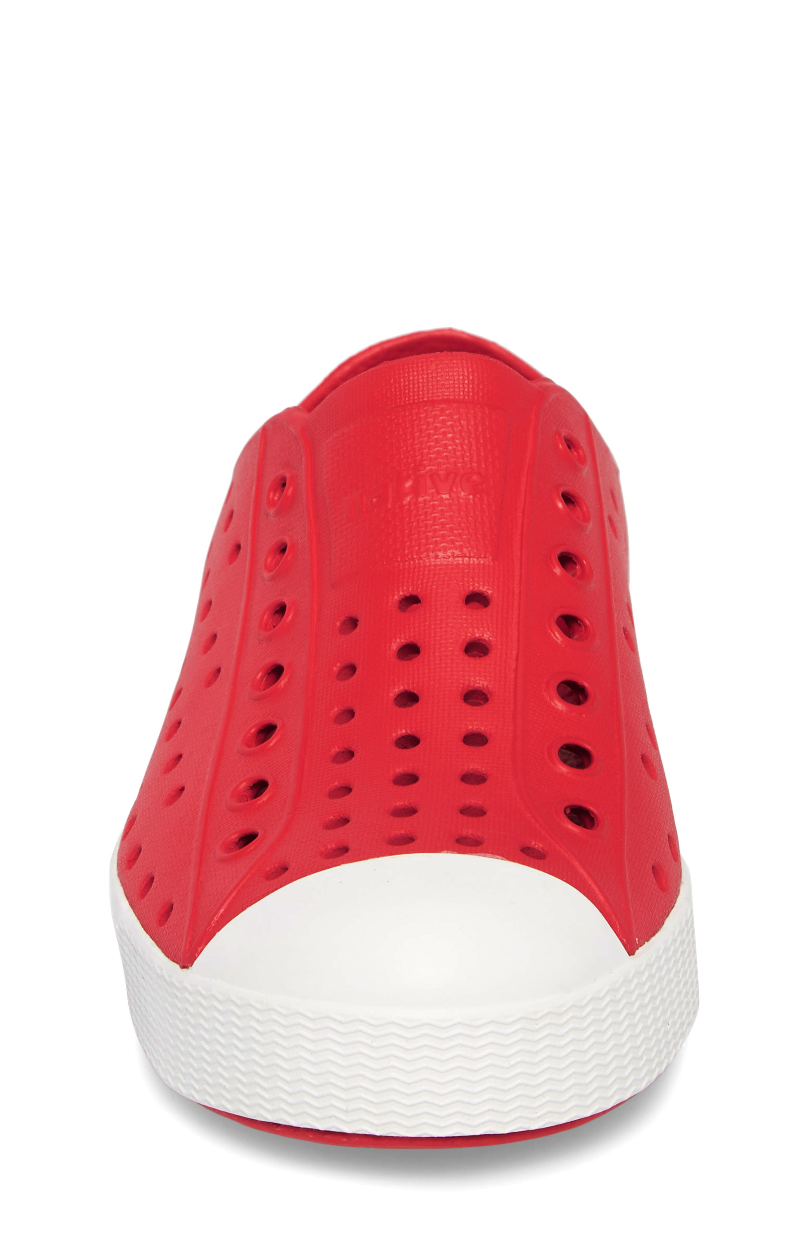 NATIVE SHOES, Jefferson Water Friendly Slip-On Vegan Sneaker, Alternate thumbnail 4, color, TORCH RED/ SHELL WHITE