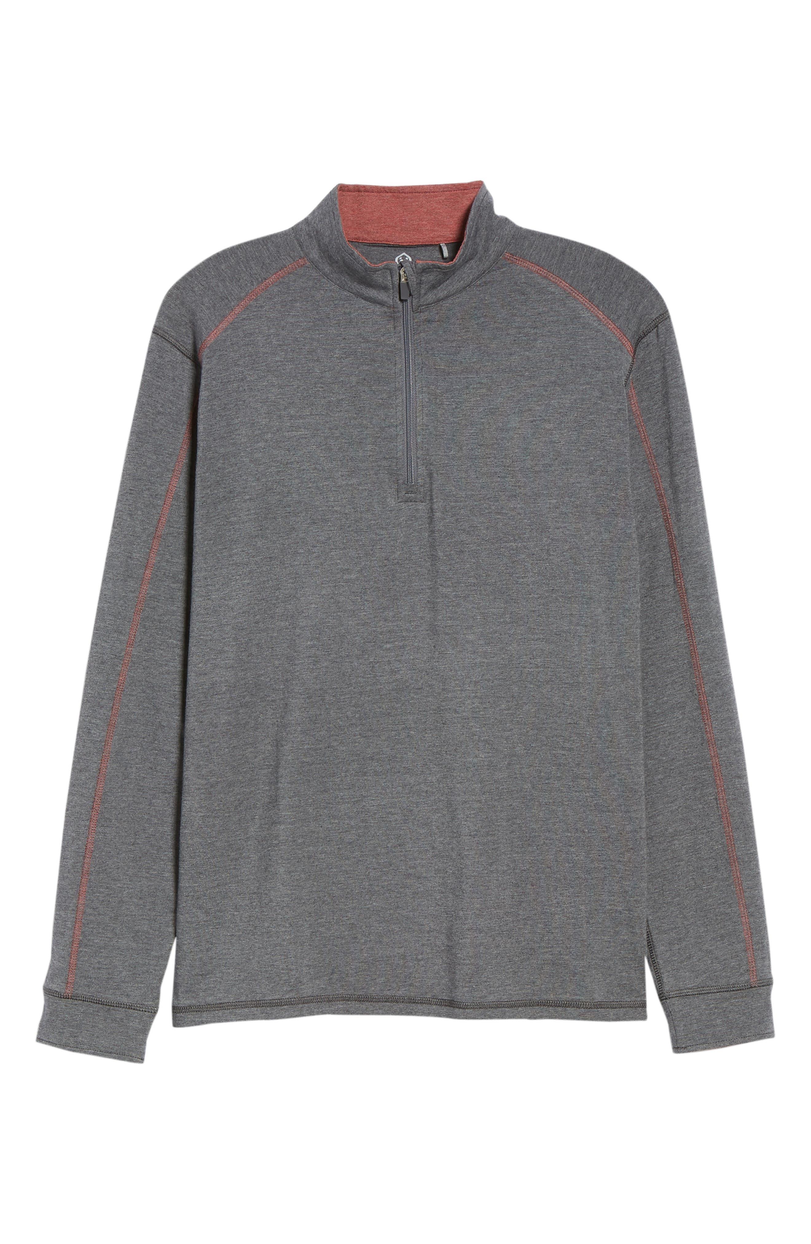 TASC PERFORMANCE, Carrollton Quarter Zip Sweatshirt, Alternate thumbnail 6, color, BLACK HEATHER/ MERCURY