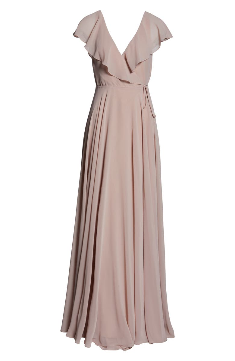 305f9233391 Jenny Yoo Faye Ruffle Wrap Chiffon Evening Dress In Whipped Apricot ...
