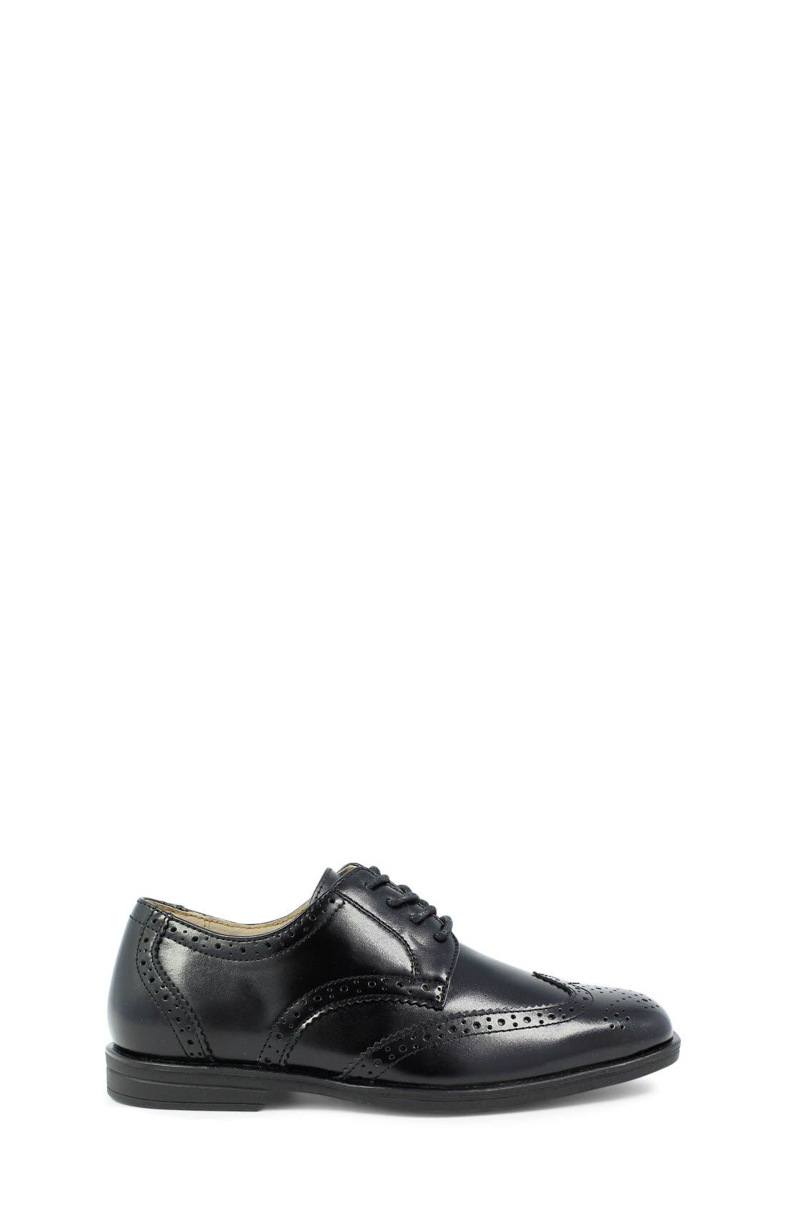 FLORSHEIM, 'Reveal' Wingtip Oxford, Alternate thumbnail 3, color, BLACK LEATHER