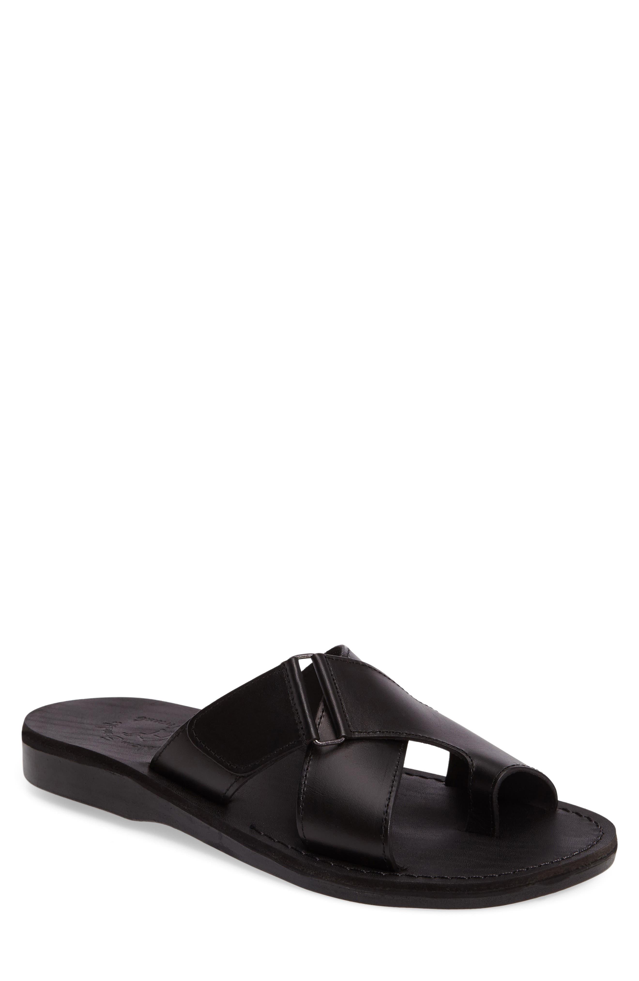 JERUSALEM SANDALS Asher Slide Sandal, Main, color, BLACK LEATHER
