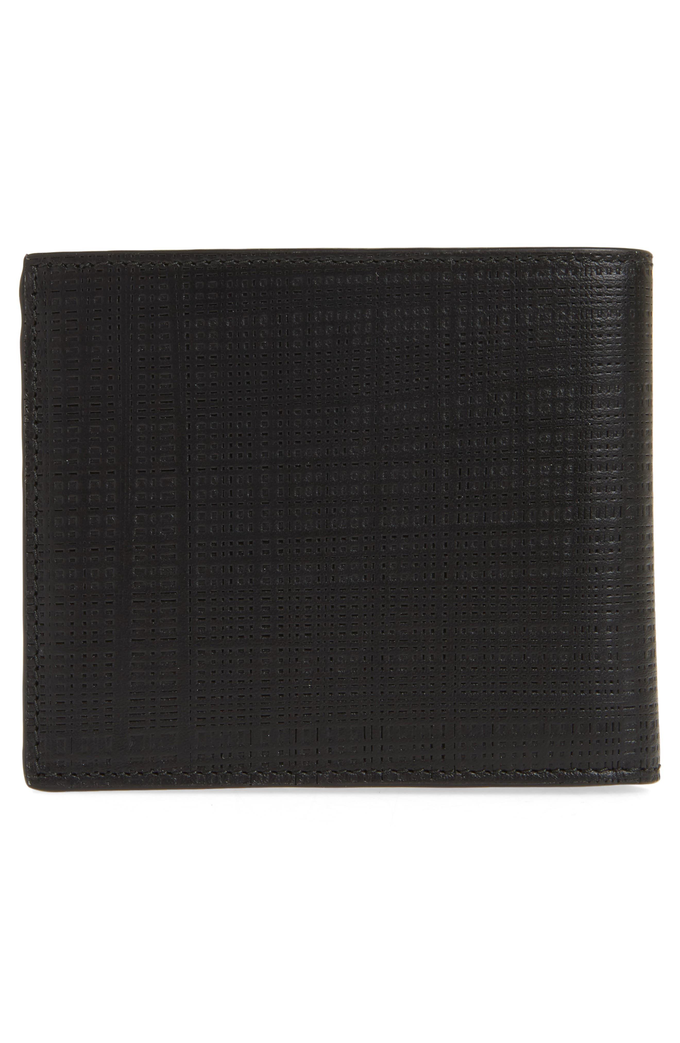 LOEWE, Bifold Leather Wallet, Alternate thumbnail 3, color, BLACK