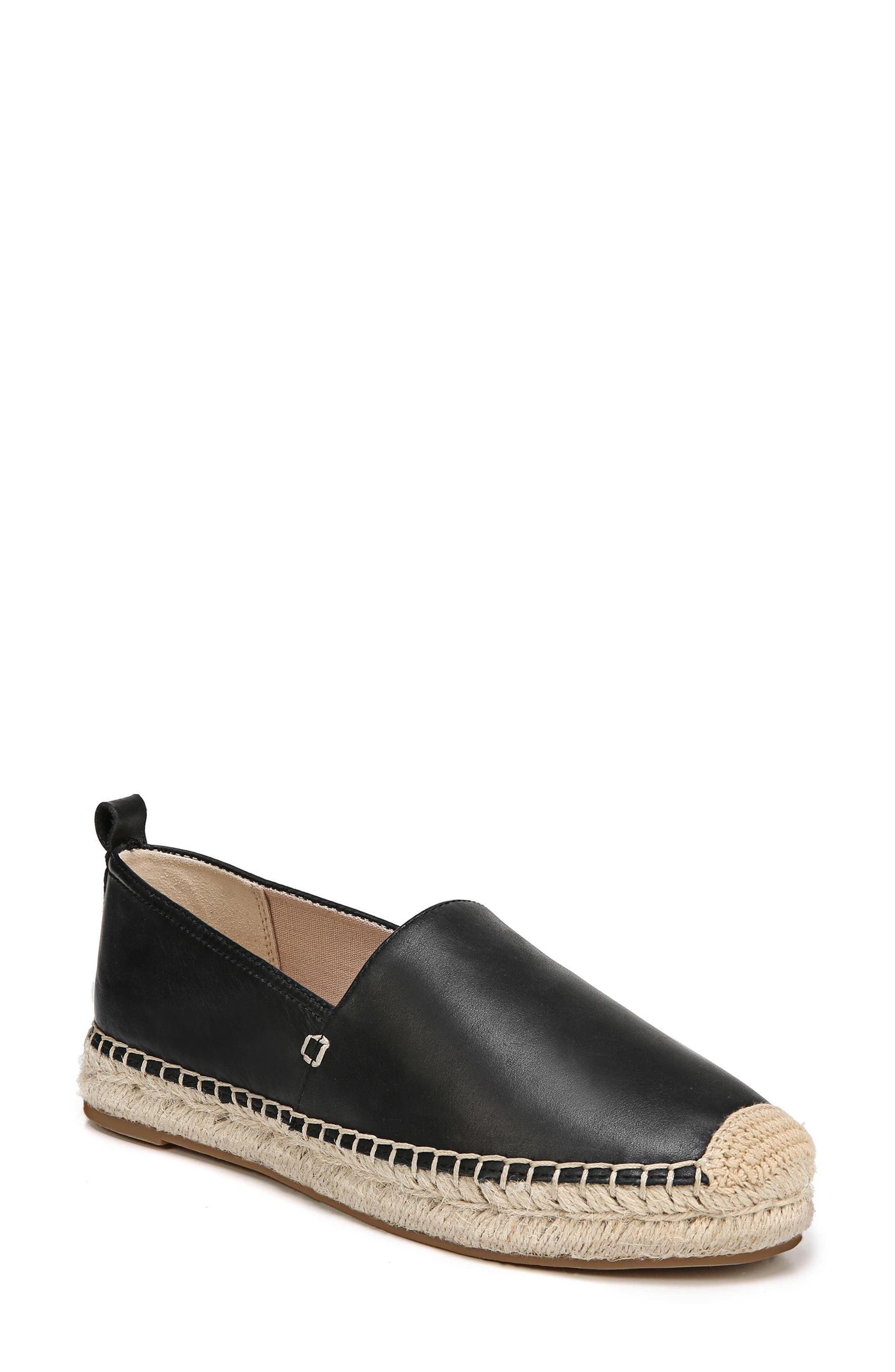 SAM EDELMAN, Khloe Espadrille Flat, Main thumbnail 1, color, BLACK LEATHER