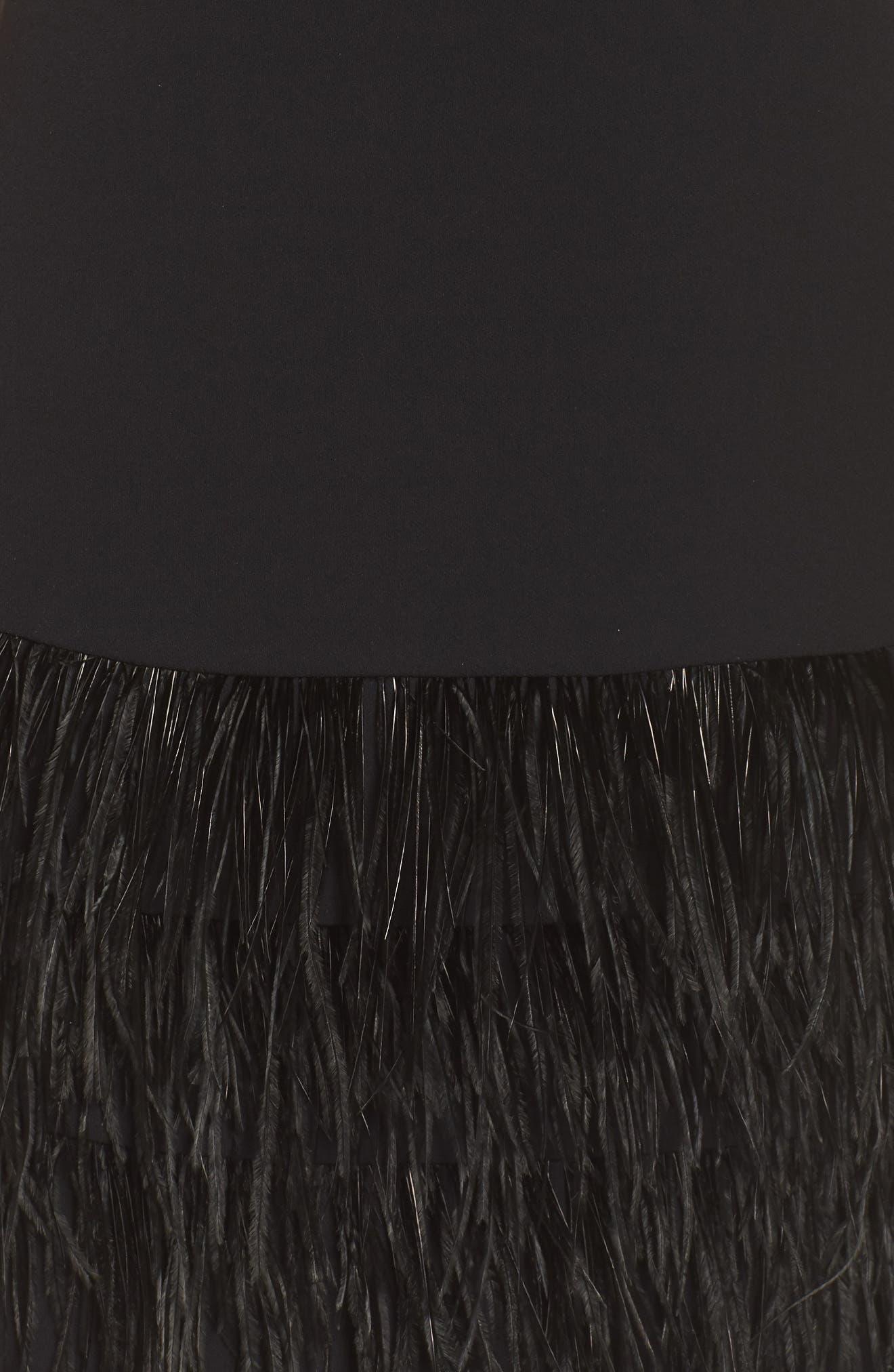 SAM EDELMAN, Feather Hem Sheath Dress, Alternate thumbnail 6, color, BLACK