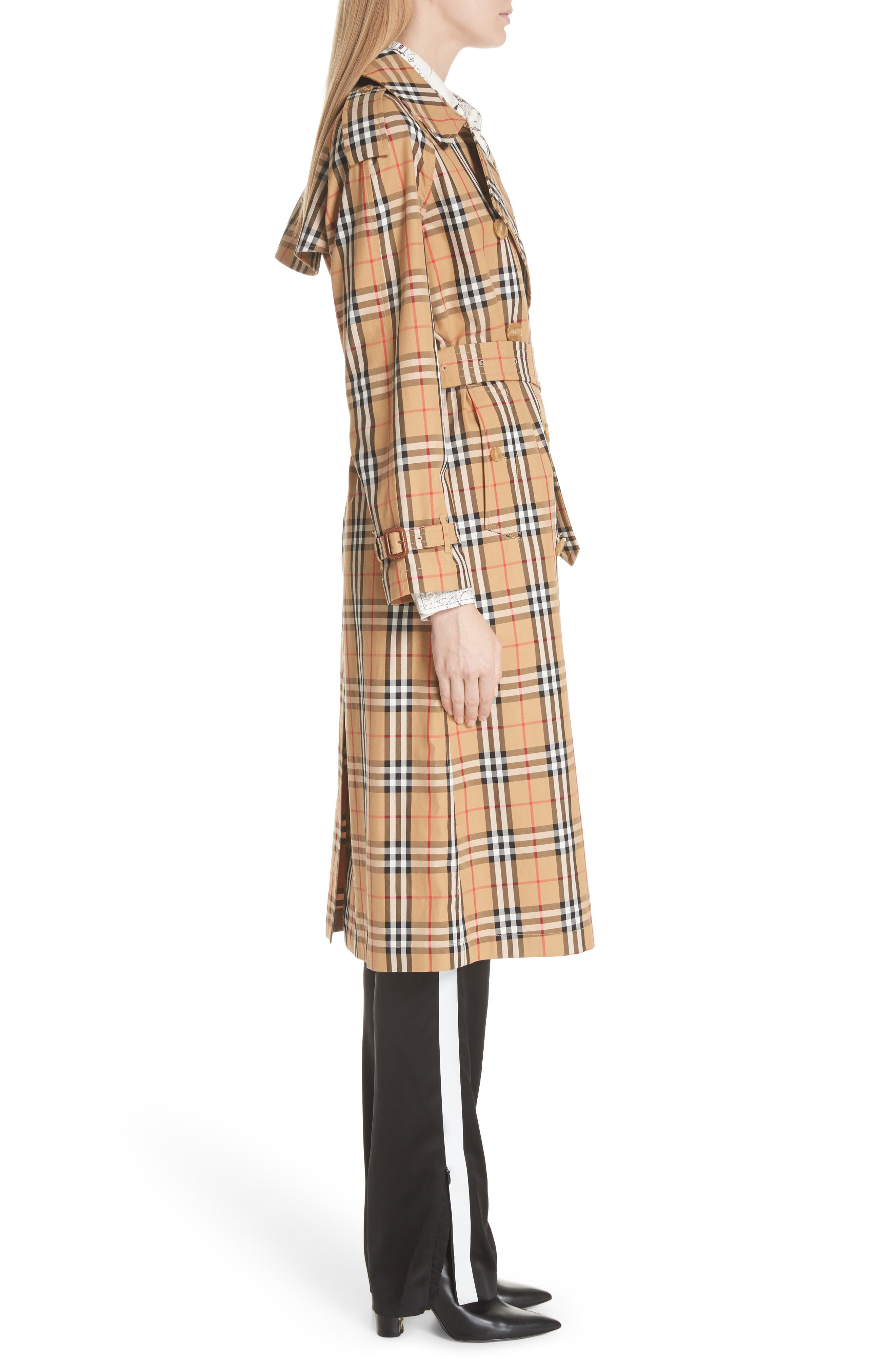 BURBERRY, Eastheath Vintage Check Trench Coat, Alternate thumbnail 4, color, ANTIQUE YELLOW