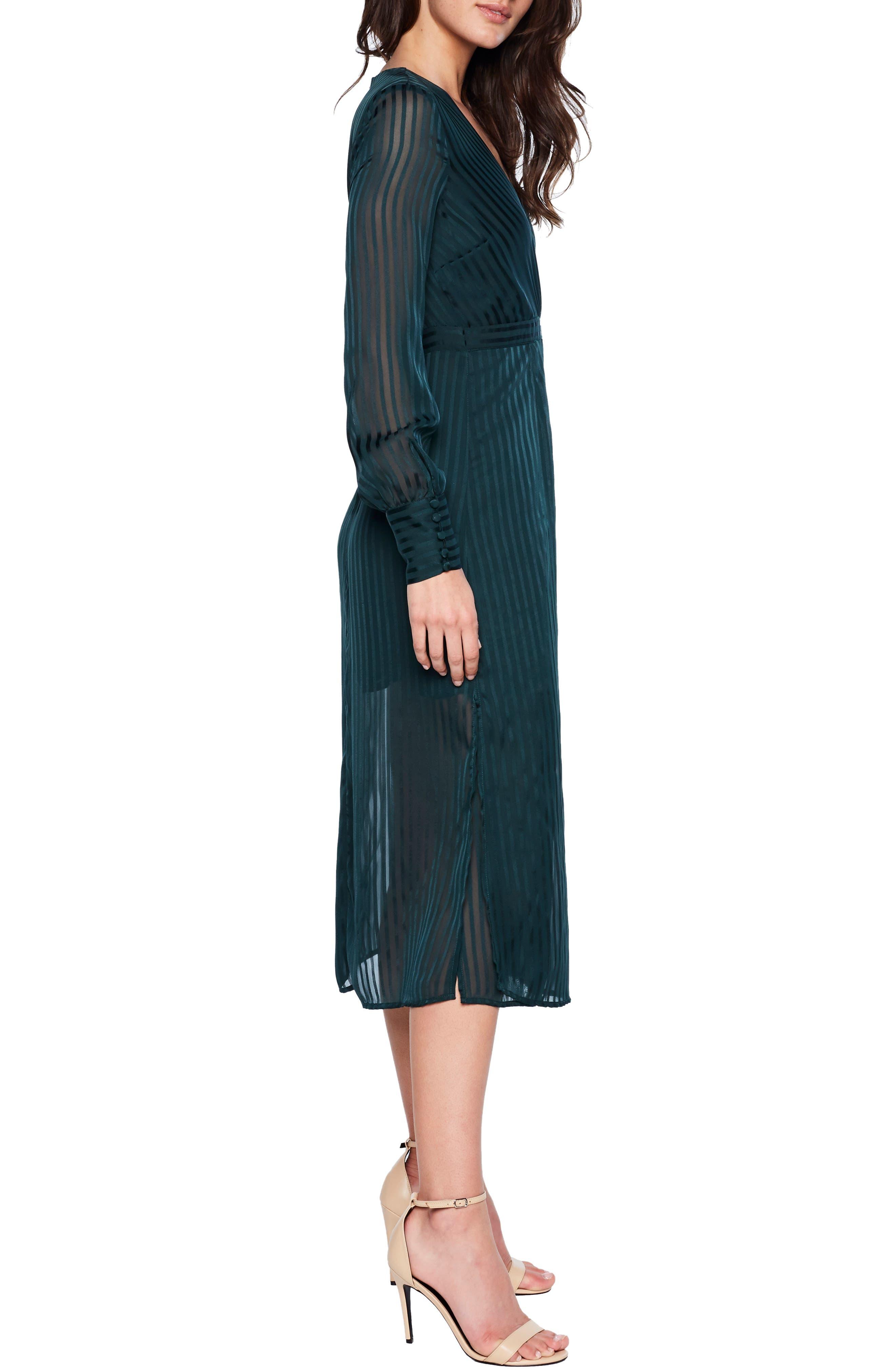 BARDOT, Shadow Stripe Faux Wrap Midi Dress, Alternate thumbnail 3, color, 309