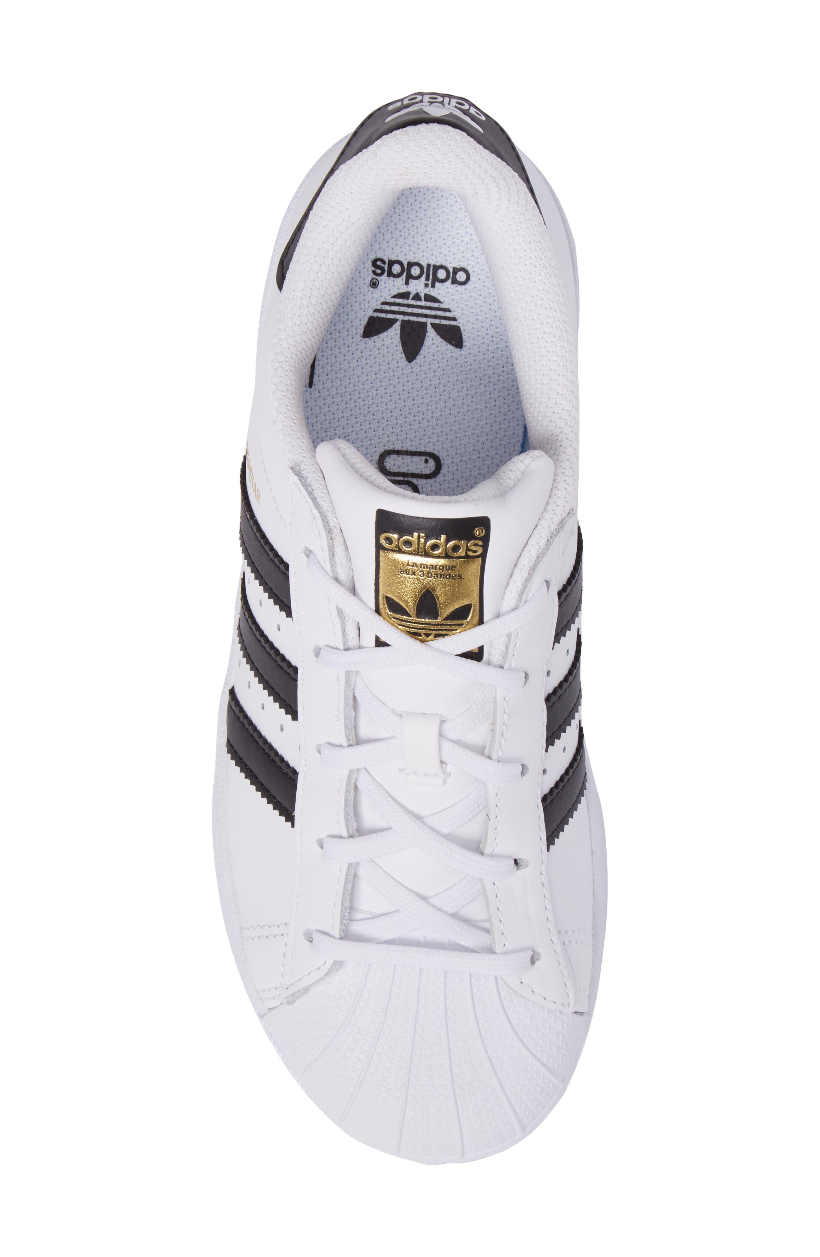 ADIDAS, 'Superstar Foundation' Sneaker, Alternate thumbnail 5, color, WHITE/ BLACK