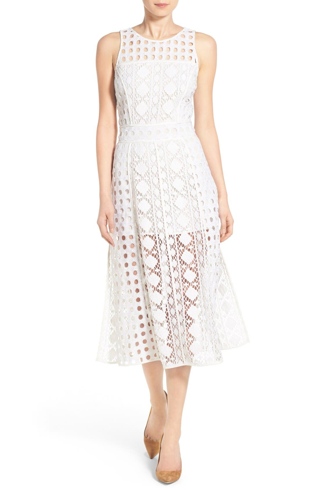 OLIVIA PALERMO + CHELSEA28, Patchwork Lace Midi Dress, Main thumbnail 1, color, 100