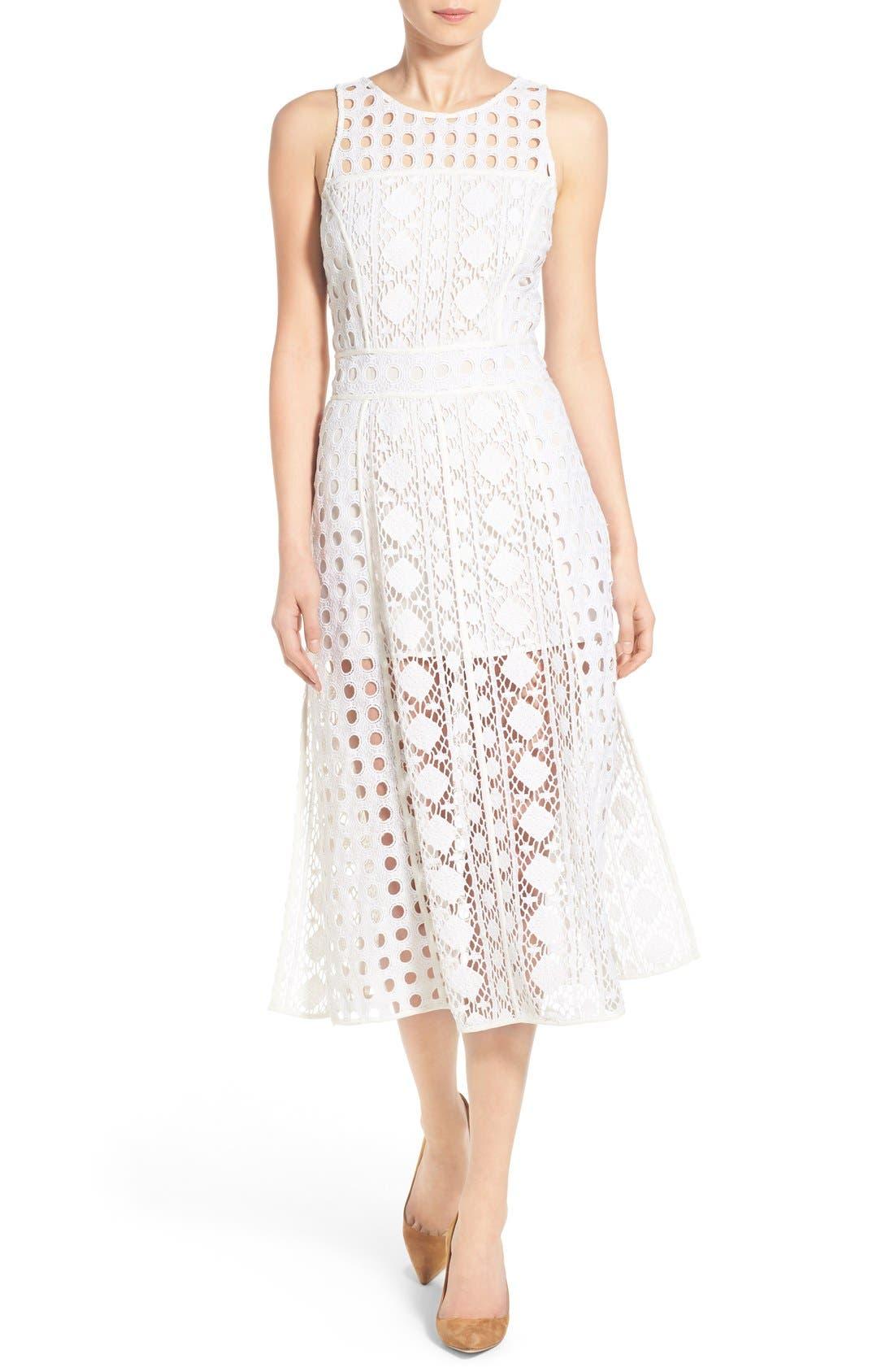 OLIVIA PALERMO + CHELSEA28 Patchwork Lace Midi Dress, Main, color, 100
