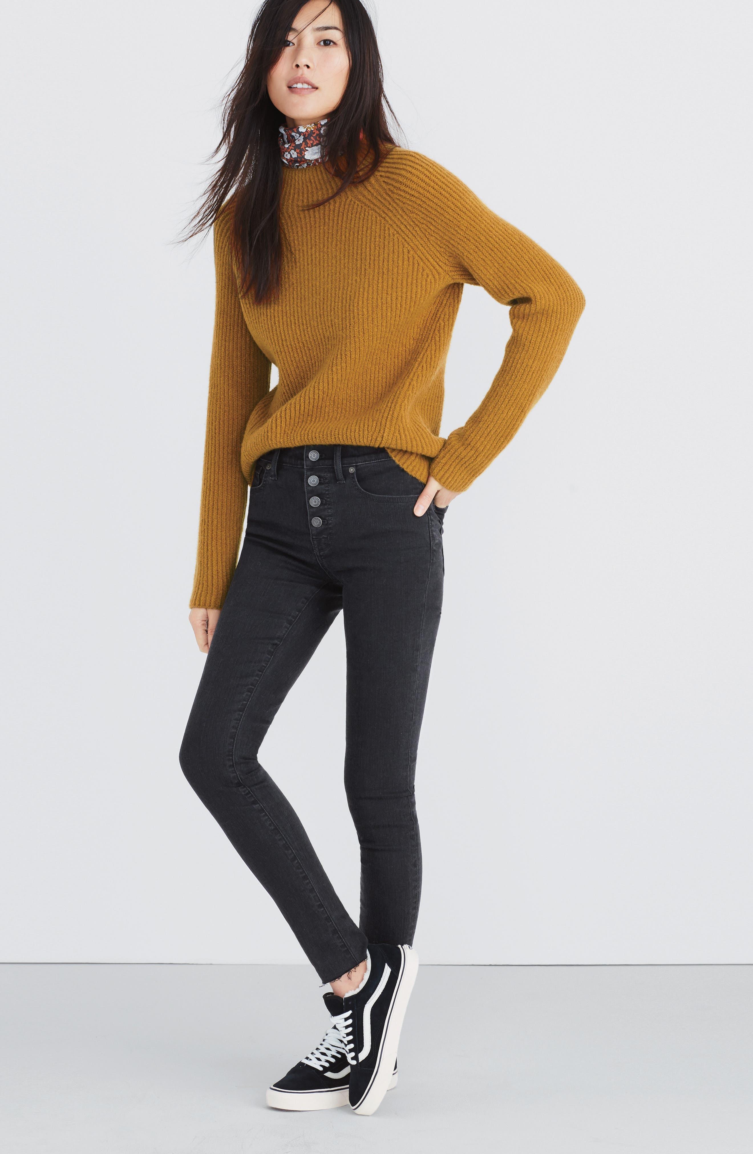 MADEWELL, Northfield Mock Neck Sweater, Alternate thumbnail 5, color, 800