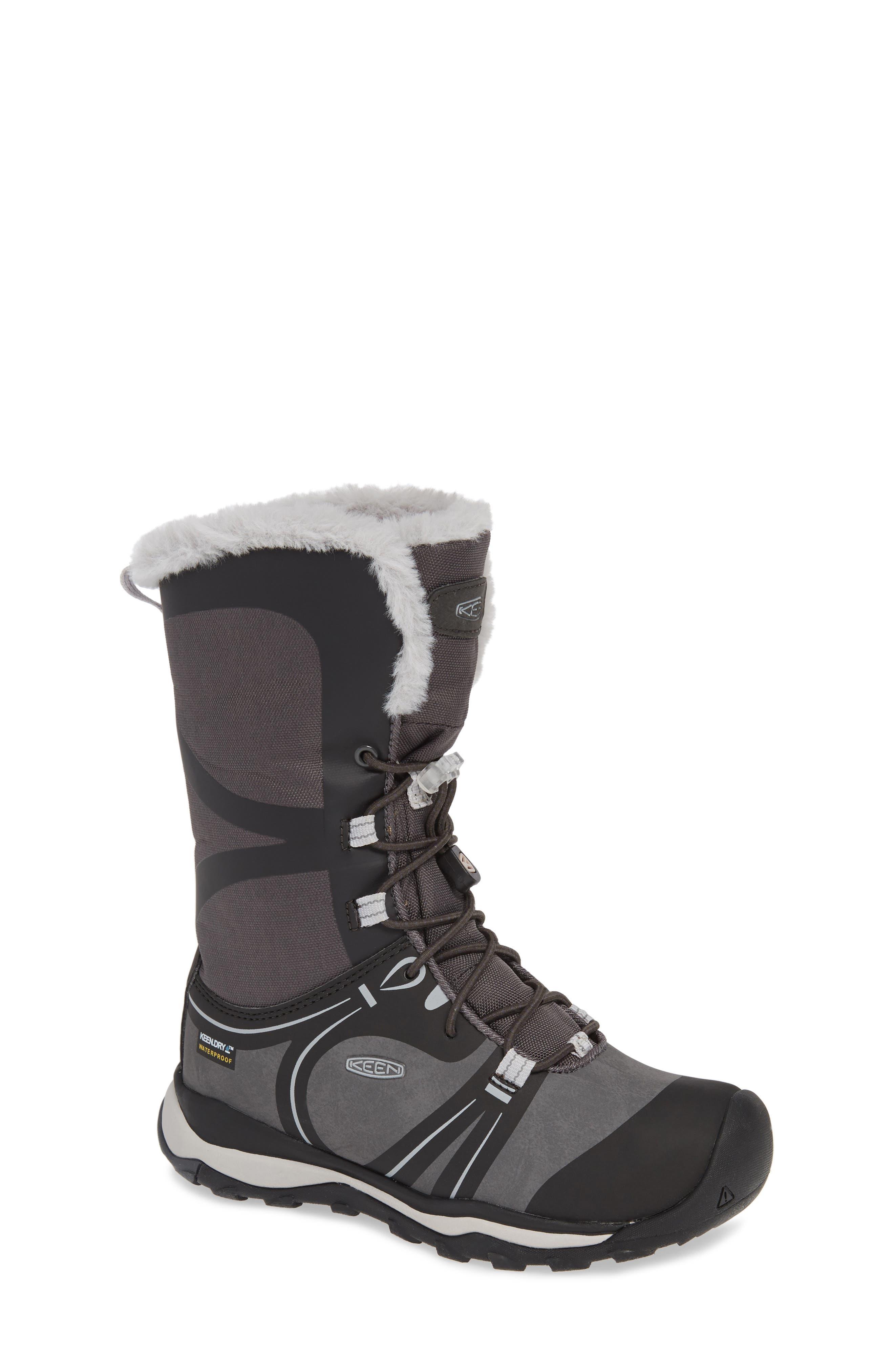 KEEN, Terradora Faux Fur Trim Waterproof Snow Boot, Main thumbnail 1, color, RAVEN/ VAPOR