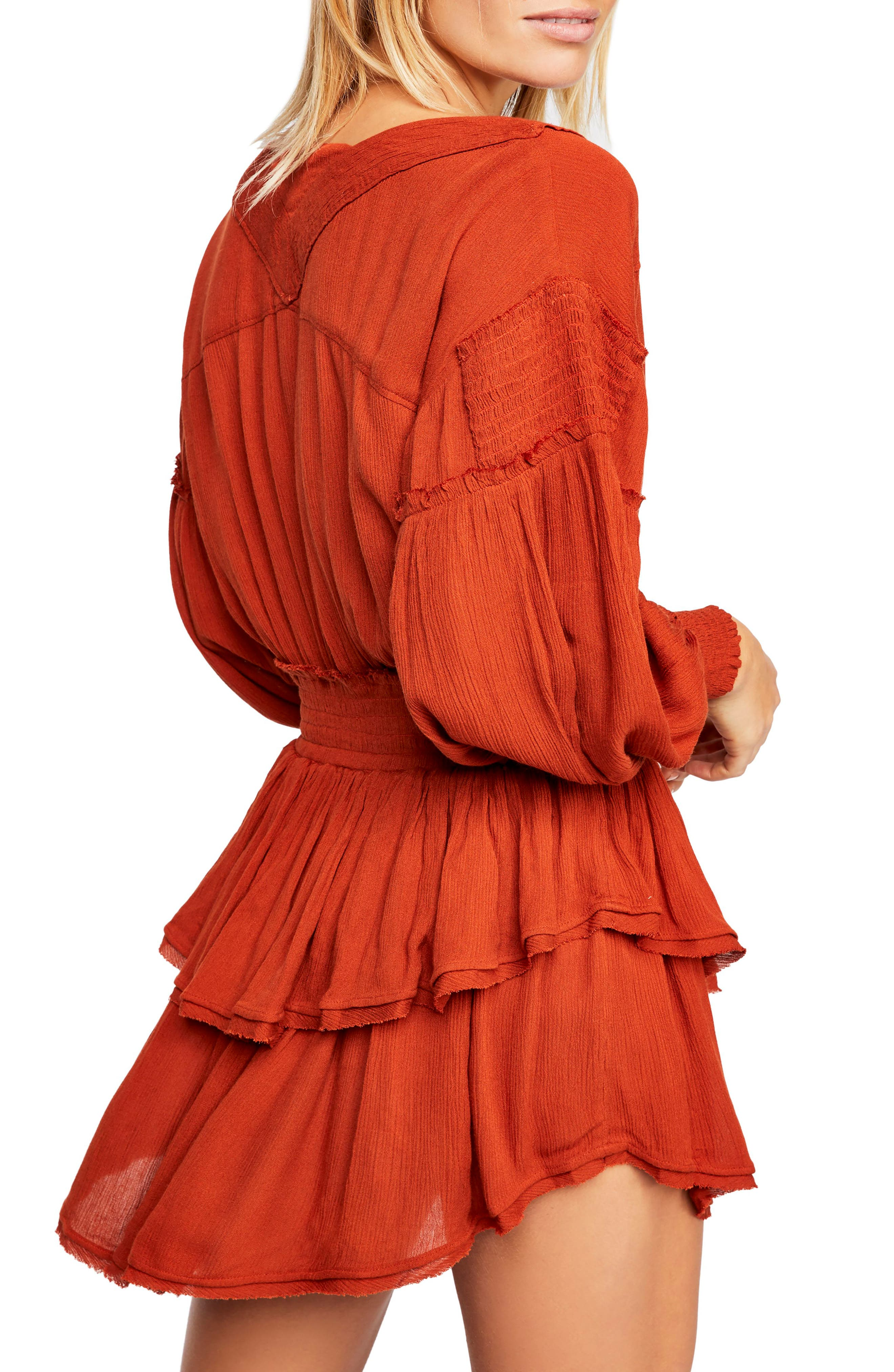 FREE PEOPLE, Endless Summer by Free People The Romy Minidress, Alternate thumbnail 2, color, COPPER