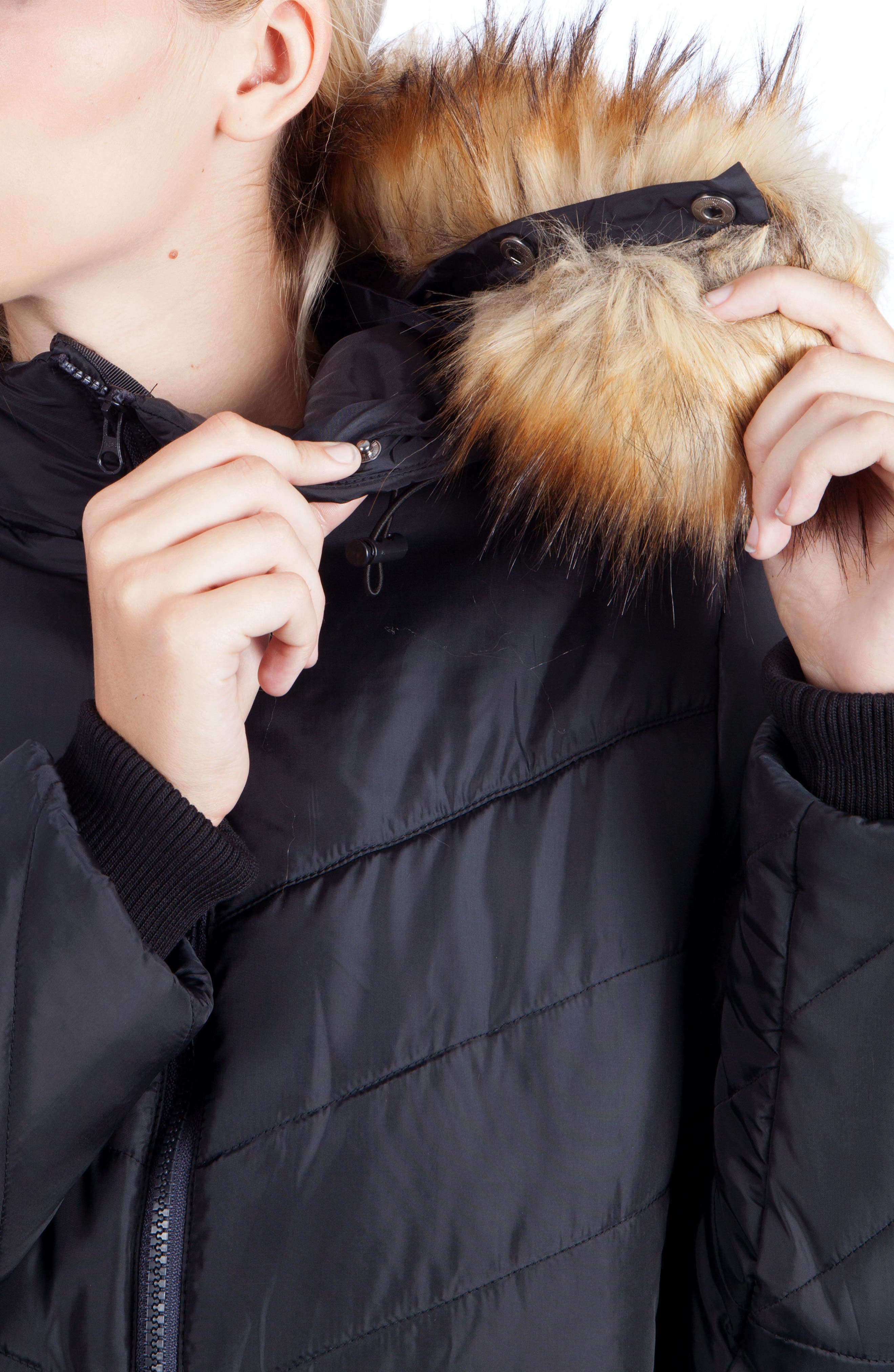 MODERN ETERNITY, Faux Fur Trim Convertible Puffer 3-in-1 Maternity Jacket, Alternate thumbnail 7, color, BLACK