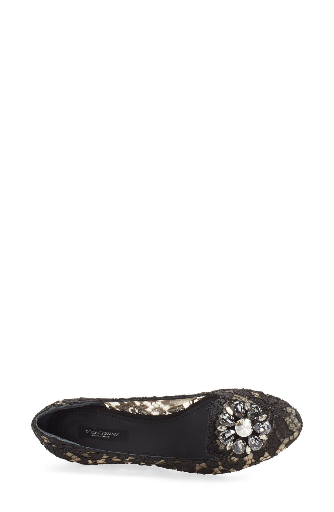 DOLCE&GABBANA, Crystal & Lace Pointy Toe Flat, Alternate thumbnail 2, color, 001
