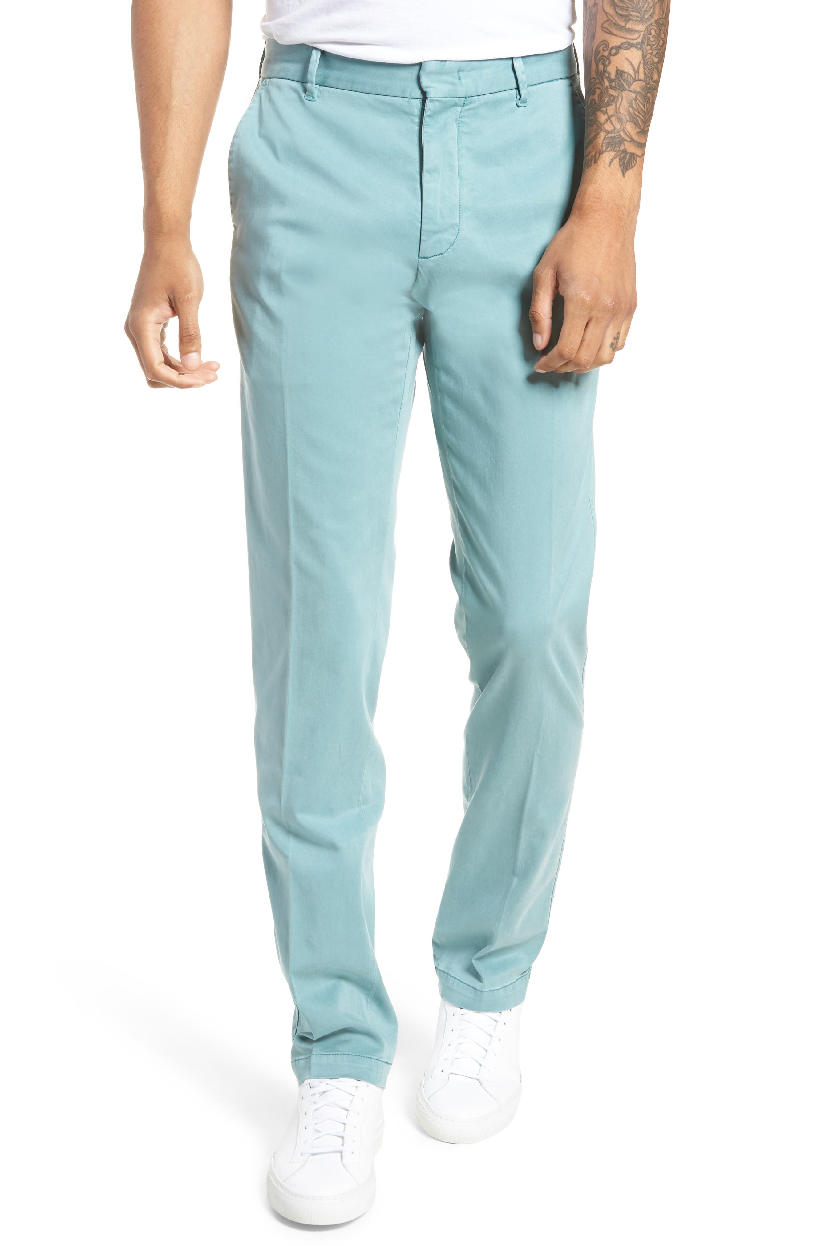 ZACHARY PRELL, Aster Straight Fit Pants, Main thumbnail 1, color, TEAL