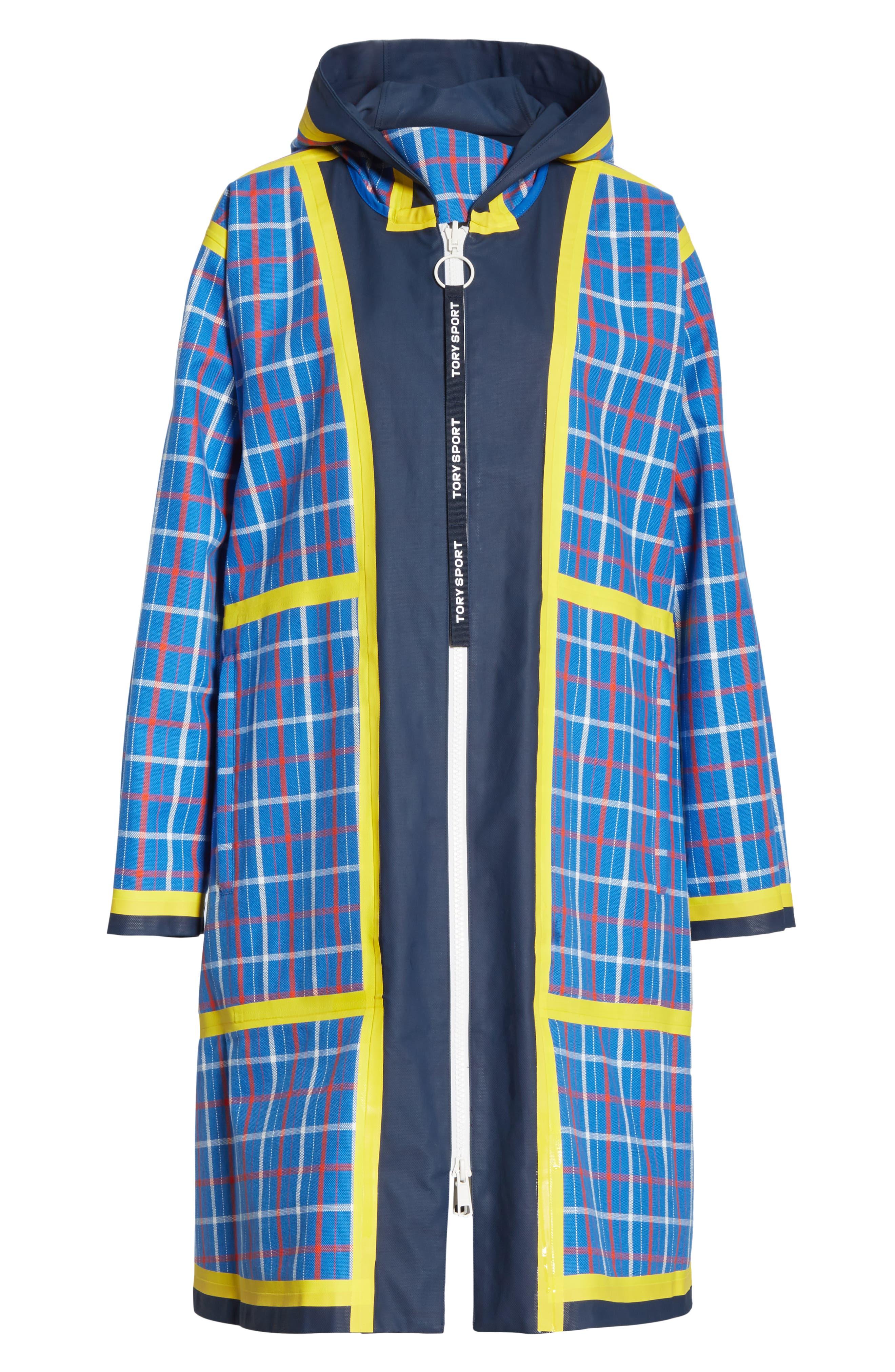 TORY SPORT, Reversible Coated Canvas Rain Coat, Alternate thumbnail 7, color, TANDEM PLAID LARGE SURF BLUE