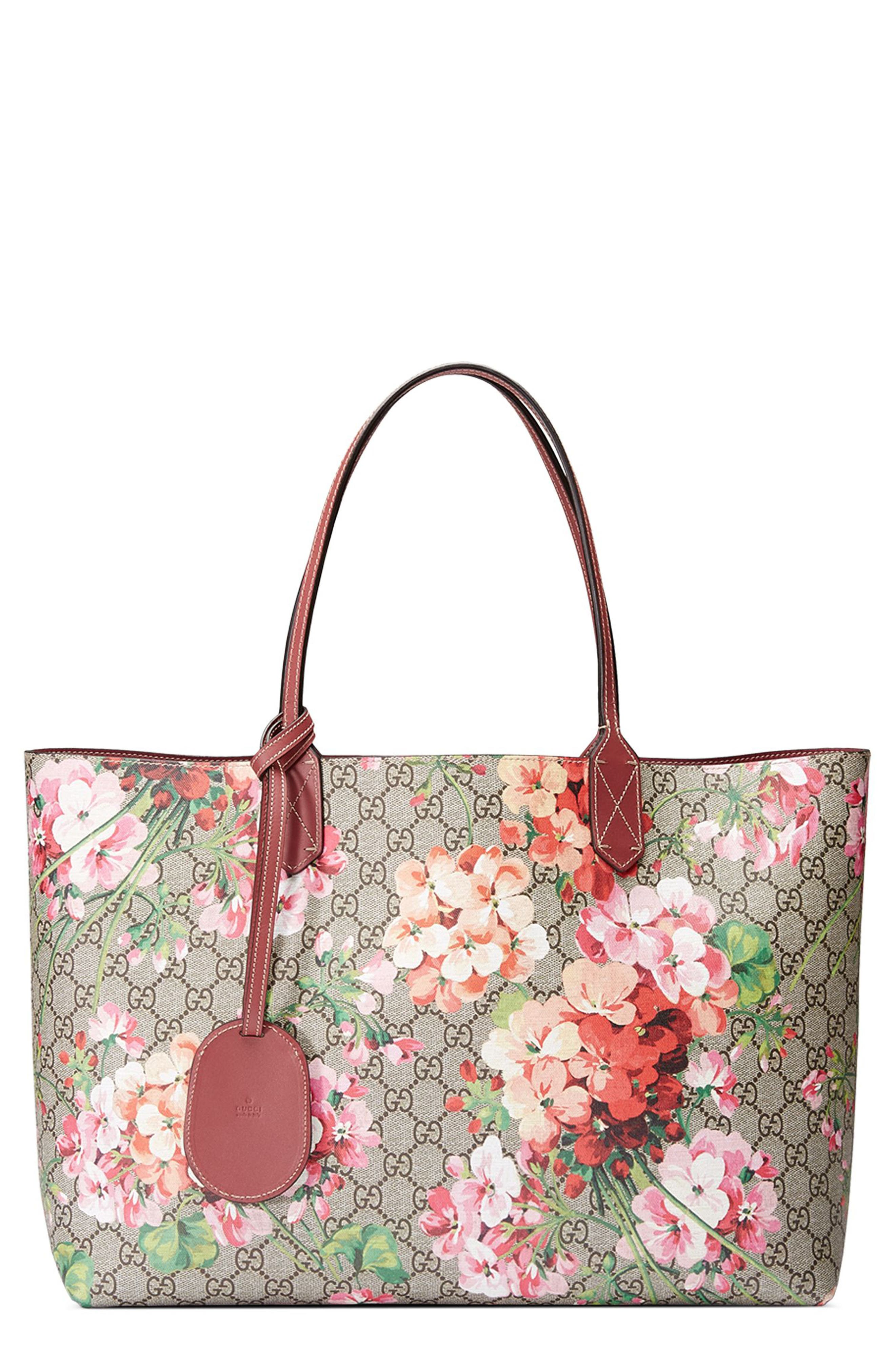 GUCCI, Medium GG Blooms Reversible Canvas & Leather Tote, Main thumbnail 1, color, 291
