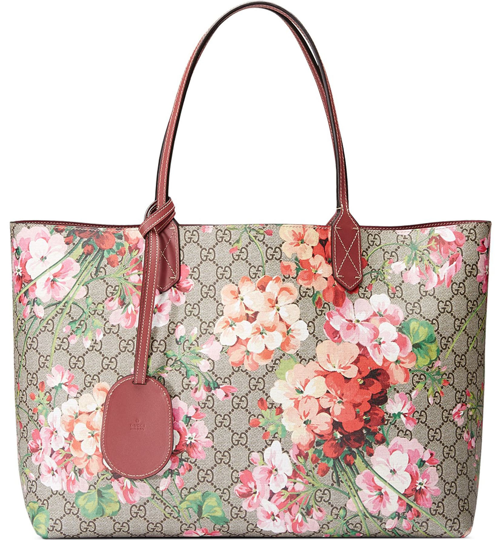 04375d3b6e7 Gucci Medium GG Blooms Reversible Canvas   Leather Tote