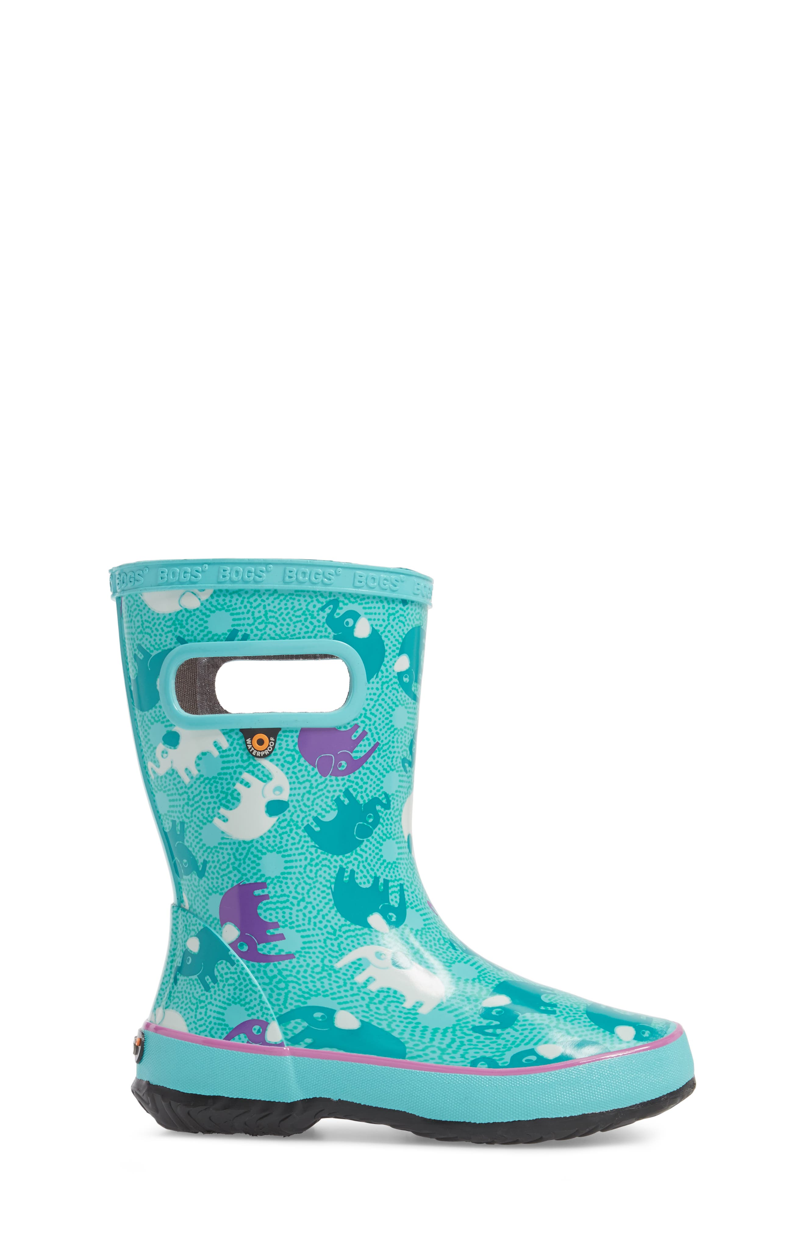 BOGS, Skipper Elephant Print Rubber Waterproof Rain Boot, Alternate thumbnail 3, color, TURQUOISE MULTI
