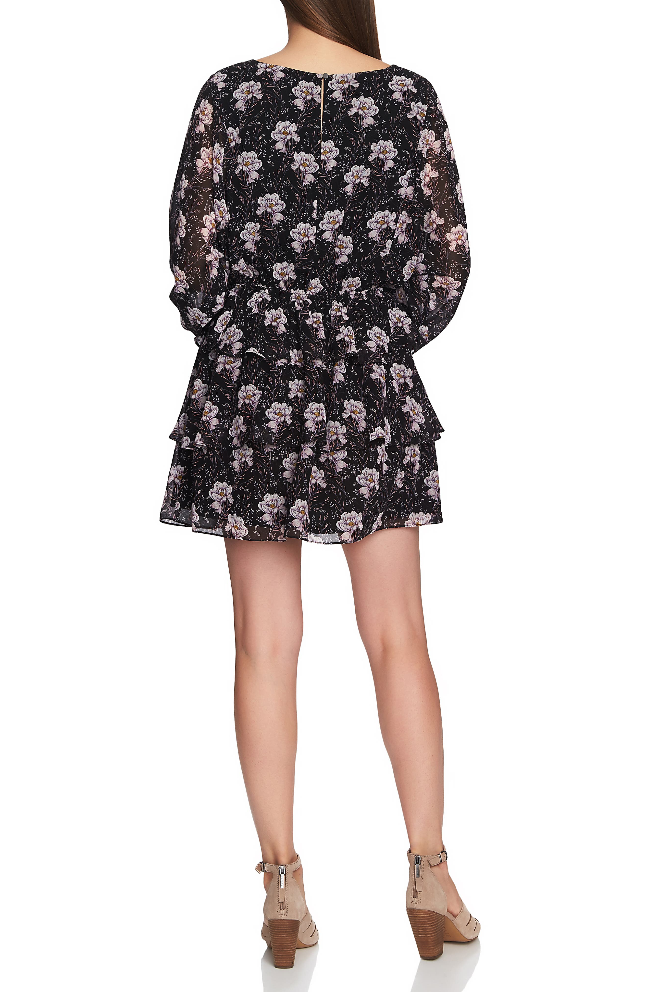 1.STATE, Bloomsbury Floral Tiered Ruffle Dress, Alternate thumbnail 2, color, RICH BLACK MULTI