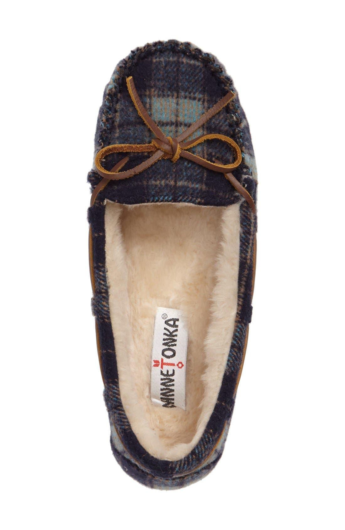 MINNETONKA, Cally Plaid Faux Fur Lined Slipper, Alternate thumbnail 3, color, NAVY