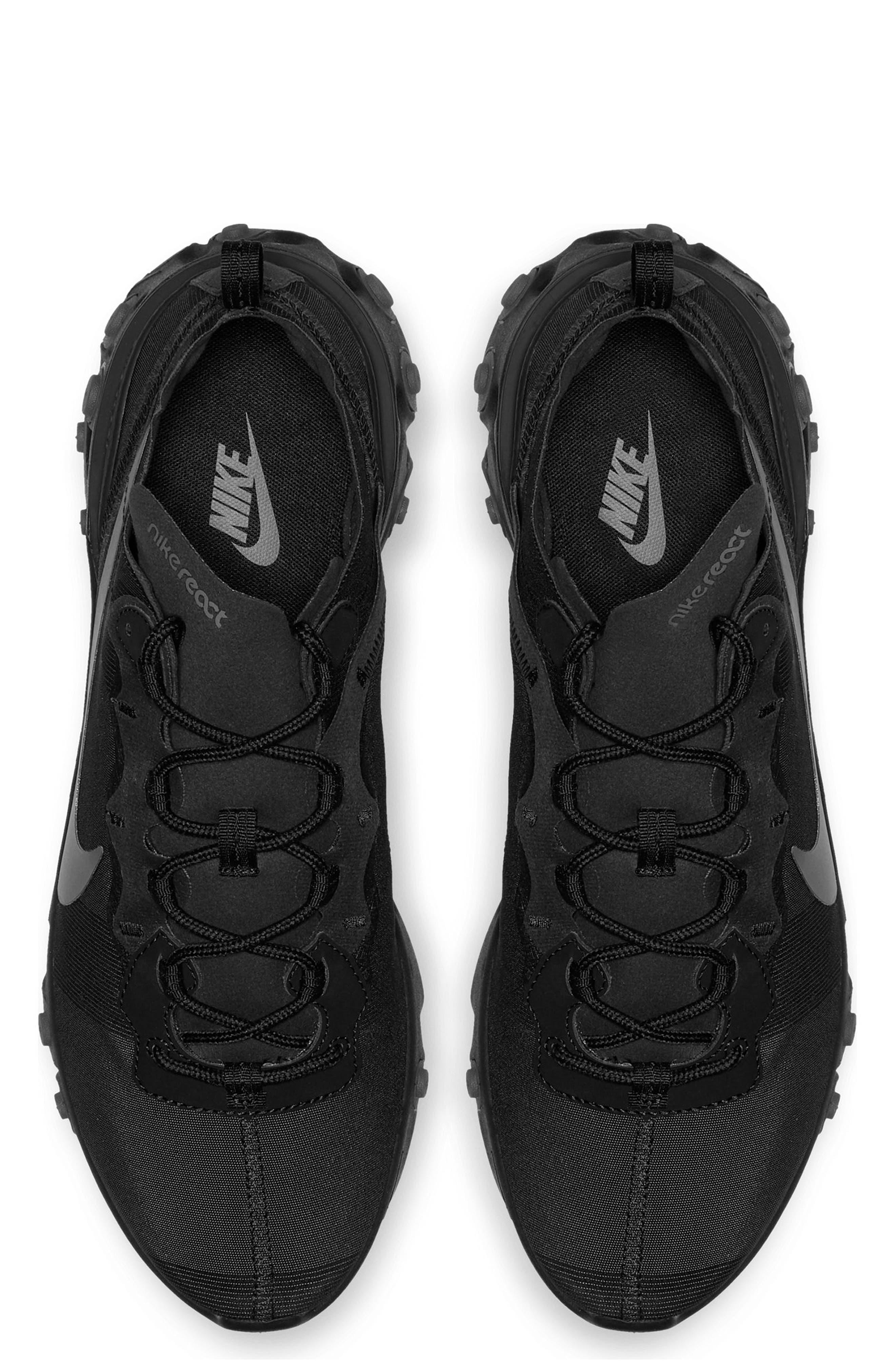 NIKE, React Element 55 Sneaker, Alternate thumbnail 4, color, BLACK/ DARK GREY