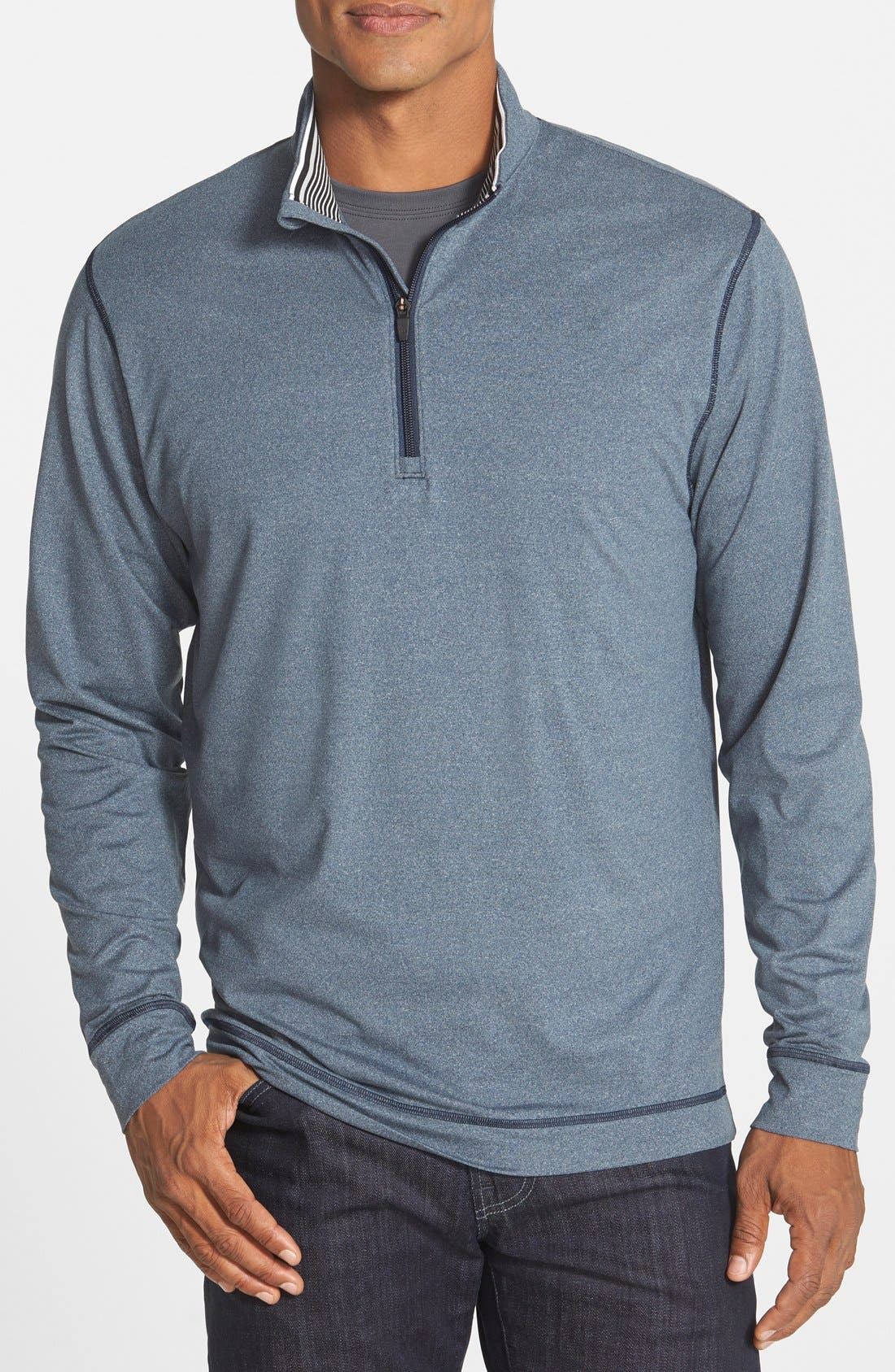 CUTTER & BUCK, 'Topspin' DryTec Half Zip Pullover, Main thumbnail 1, color, NAVY HEATHER