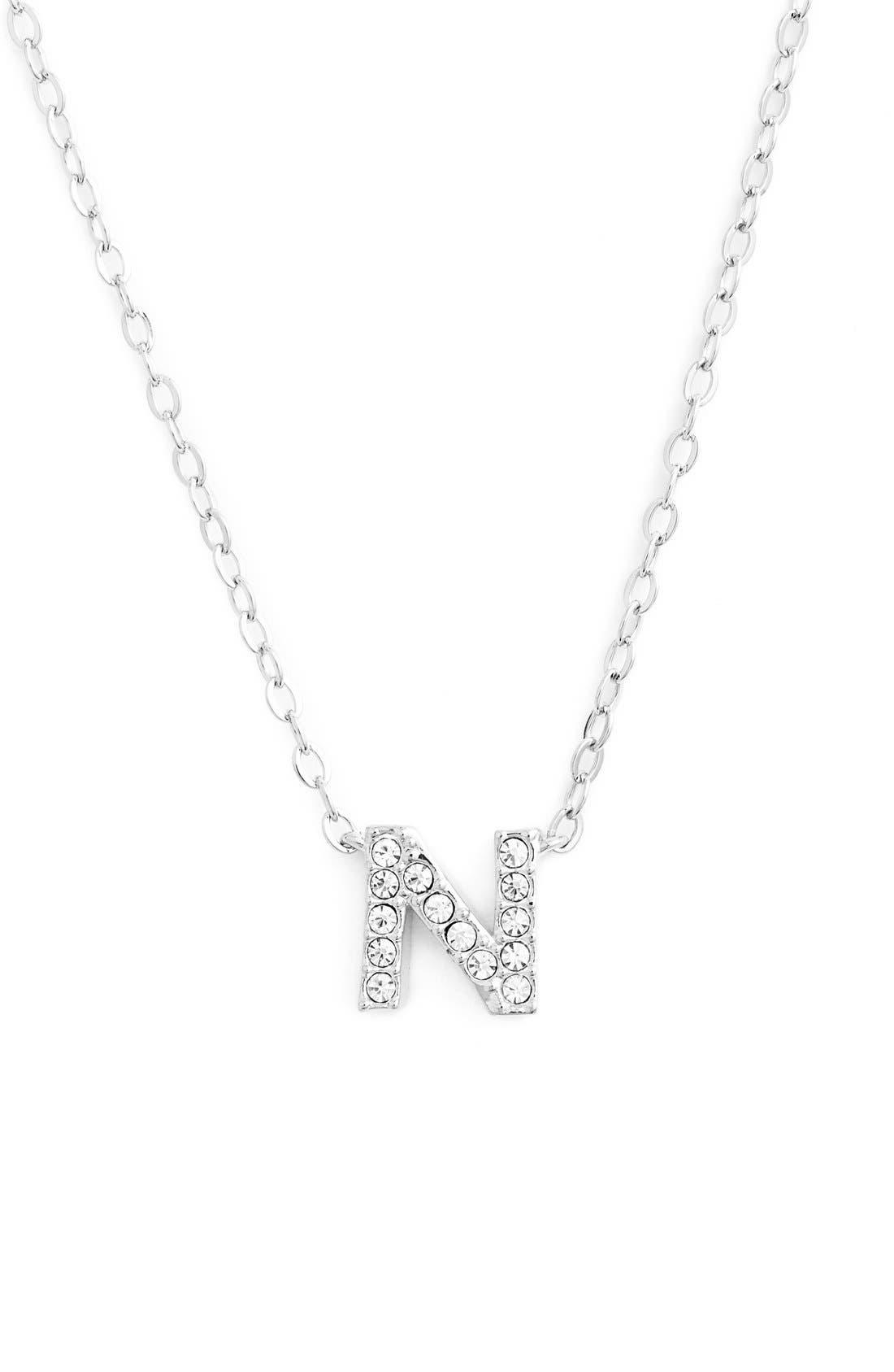NADRI, Initial Pendant Necklace, Main thumbnail 1, color, N SILVER