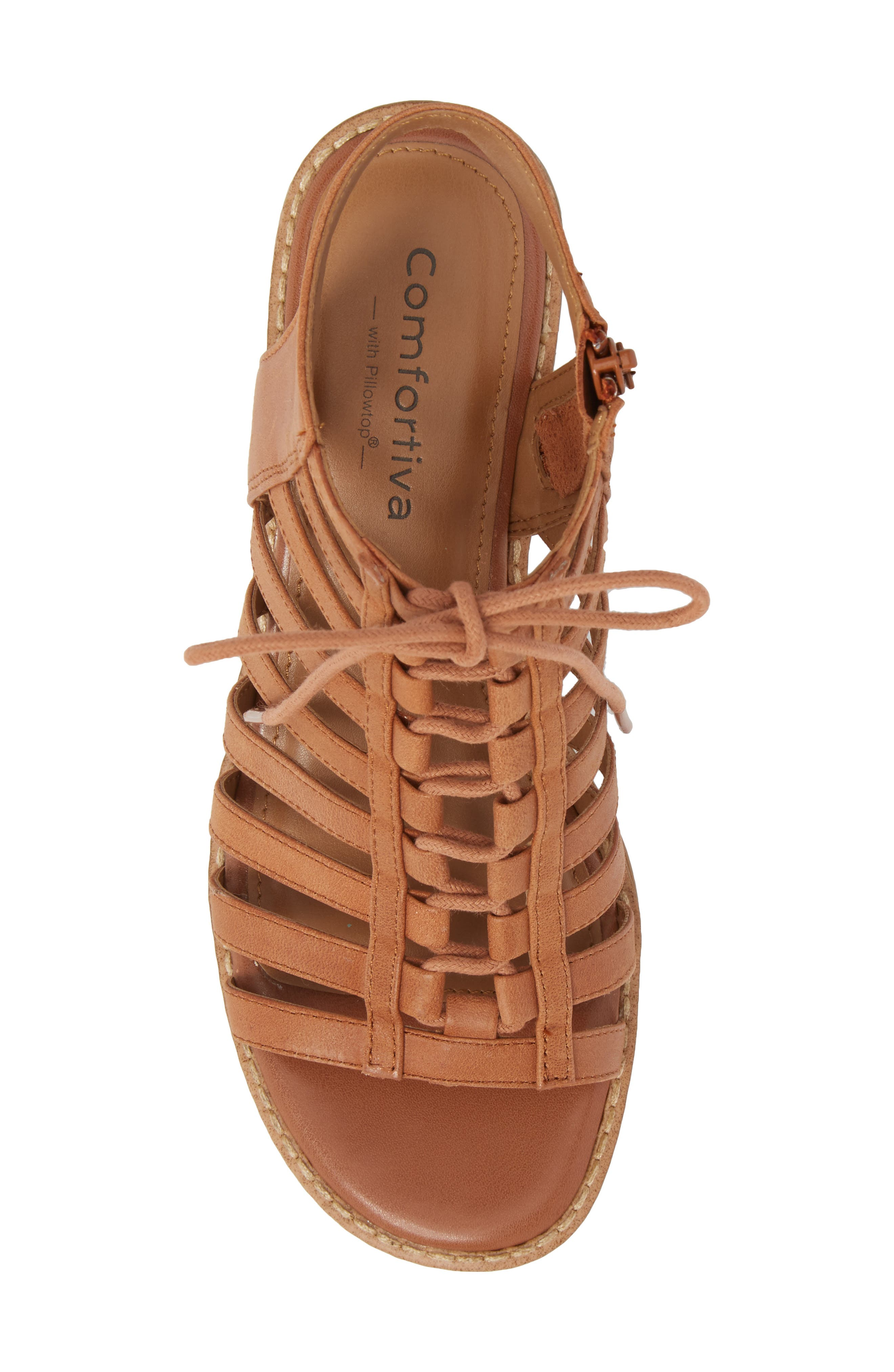 COMFORTIVA, Blossom Sandal, Alternate thumbnail 5, color, WALNUT LEATHER