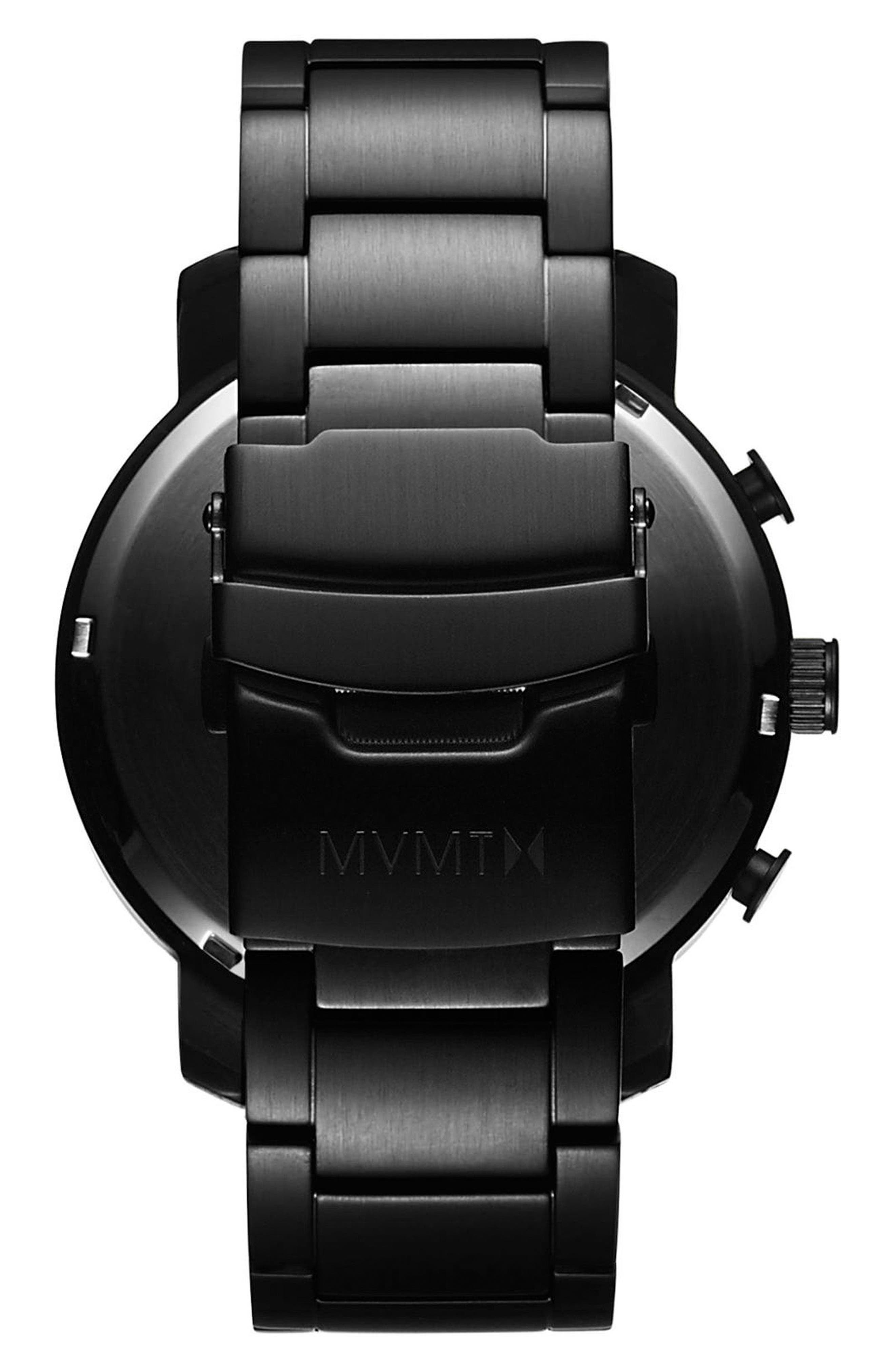 MVMT, The Chrono Chronograph Bracelet Watch, 45mm, Alternate thumbnail 2, color, ALL BLACK/ ROSE GOLD