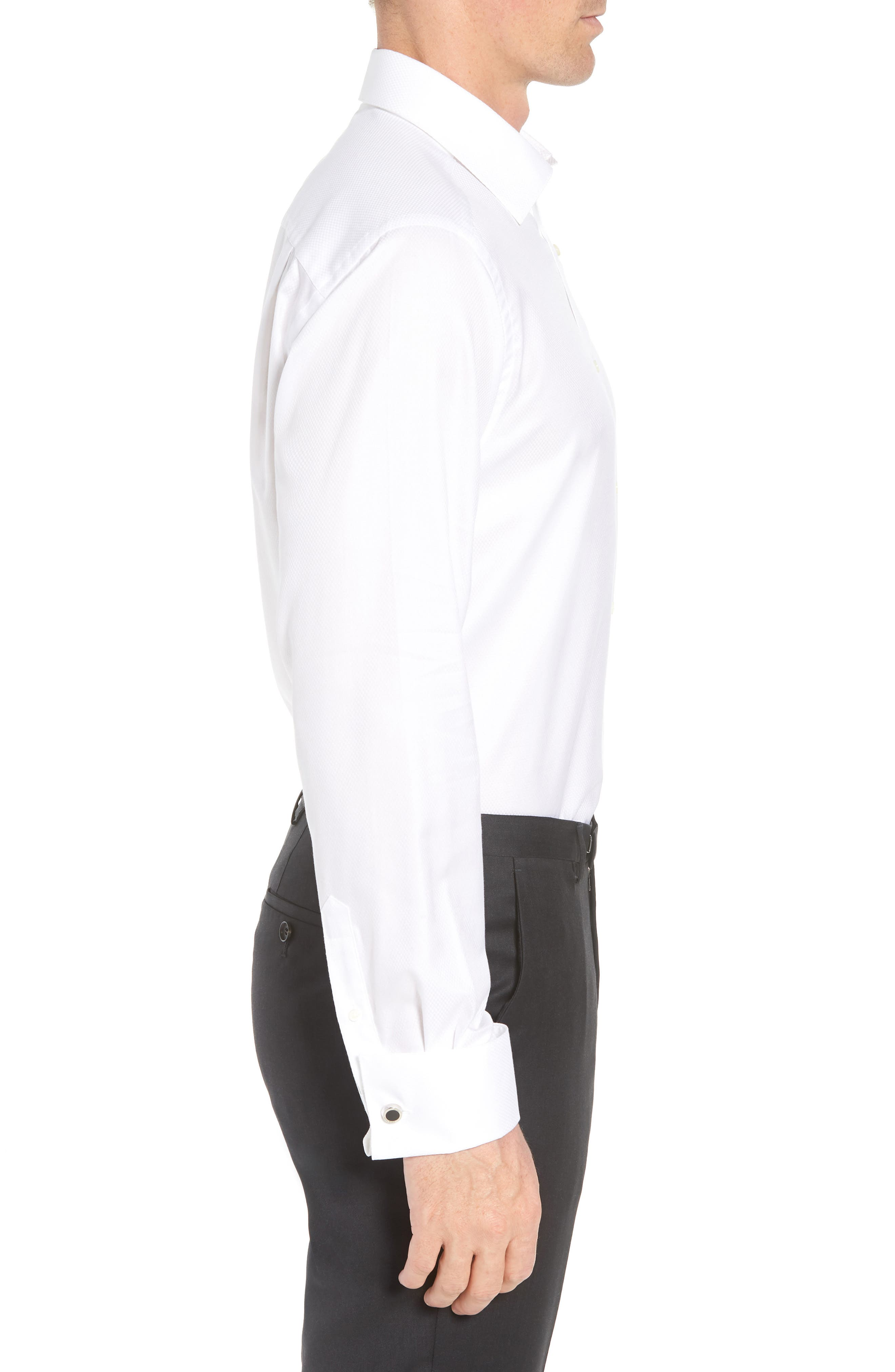 DAVID DONAHUE, Regular Fit Solid French Cuff Tuxedo Shirt, Alternate thumbnail 4, color, WHITE / WHITE