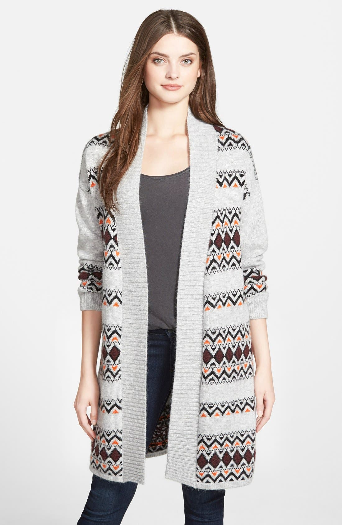 CASLON<SUP>®</SUP> Patterned Long Cardigan, Main, color, 050
