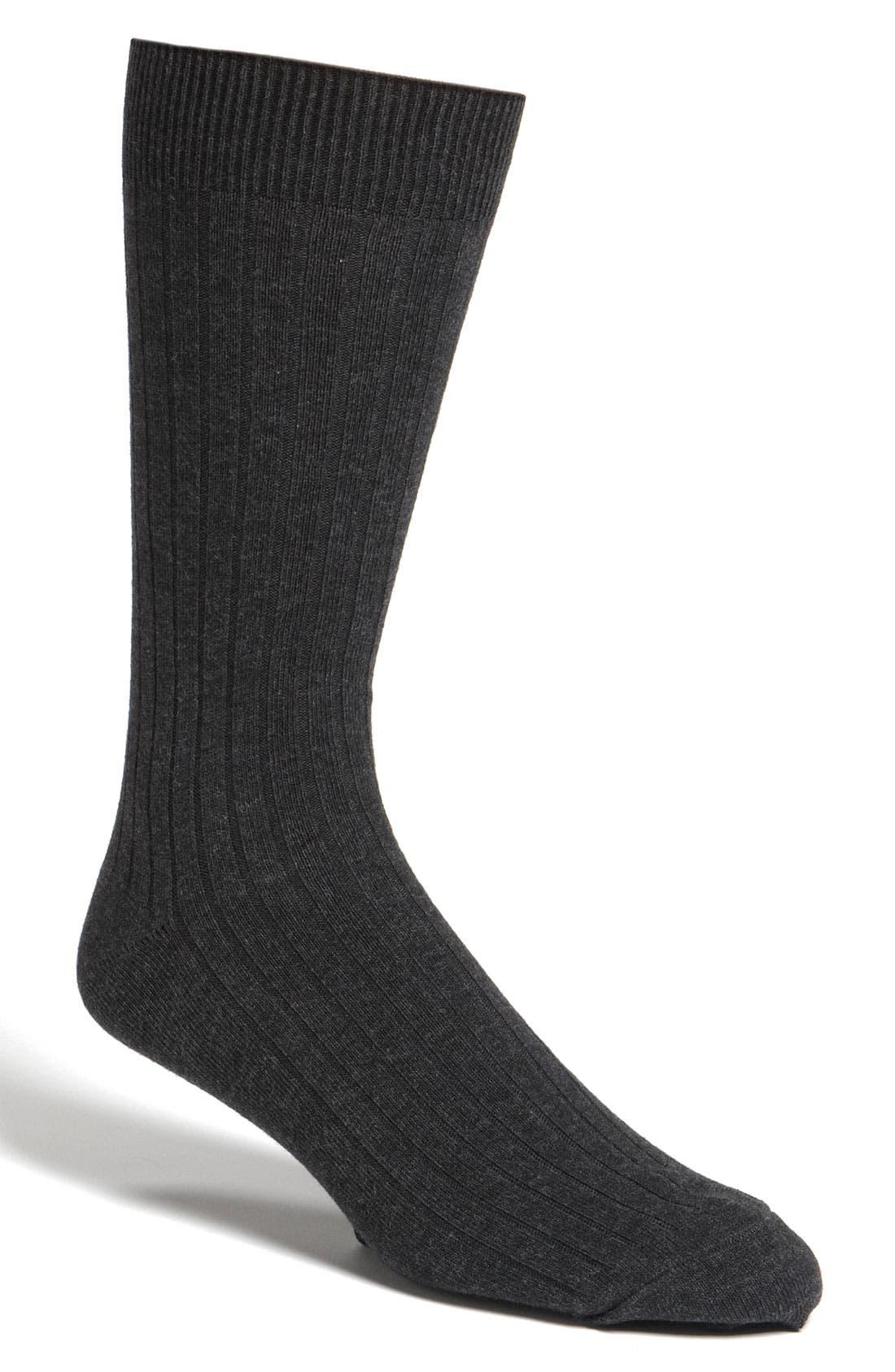 NORDSTROM MEN'S SHOP, Cotton Blend Socks, Main thumbnail 1, color, BLACK HEATHER