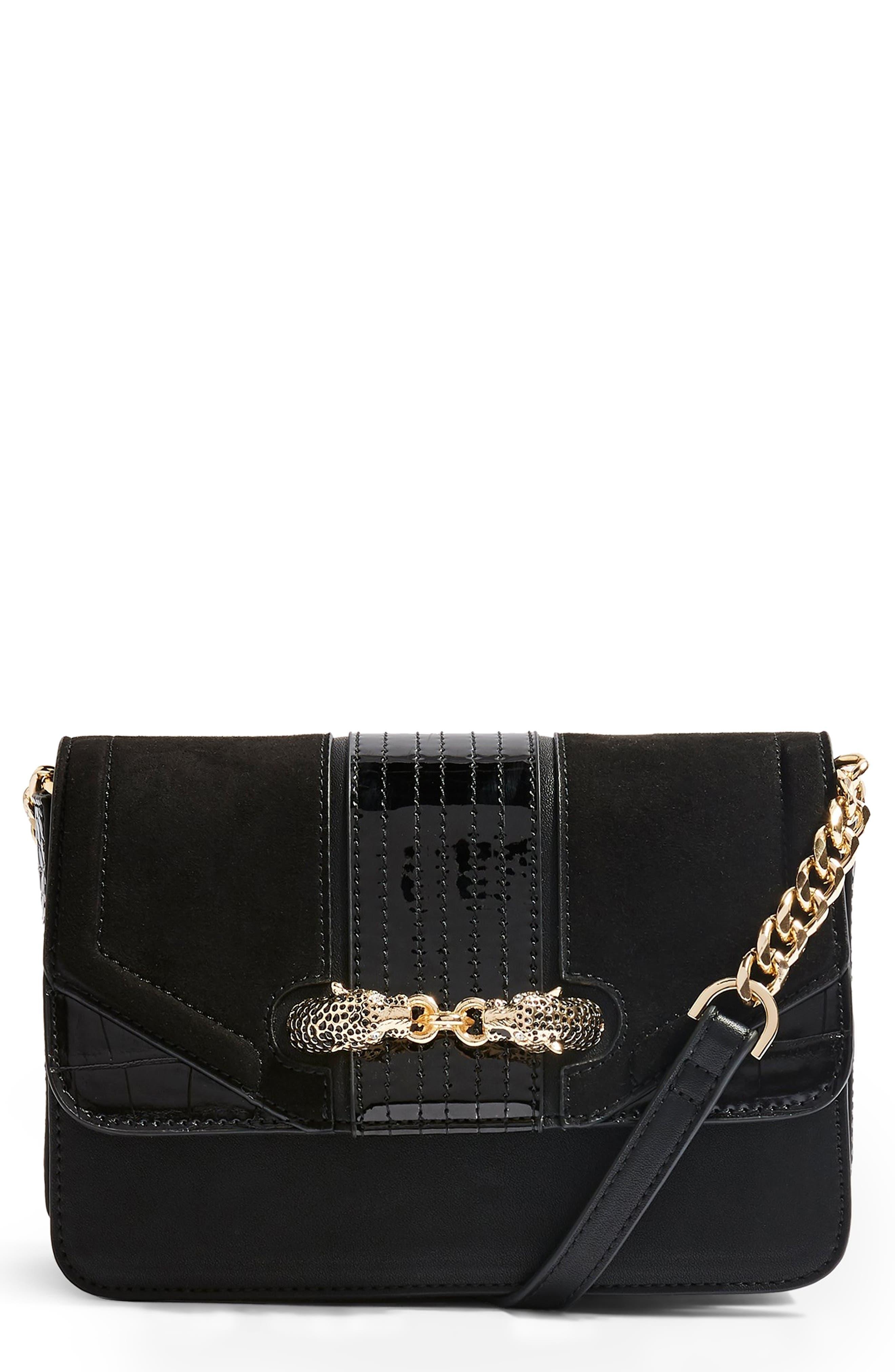 TOPSHOP, Cheetah Crossbody Bag, Main thumbnail 1, color, BLACK MULTI