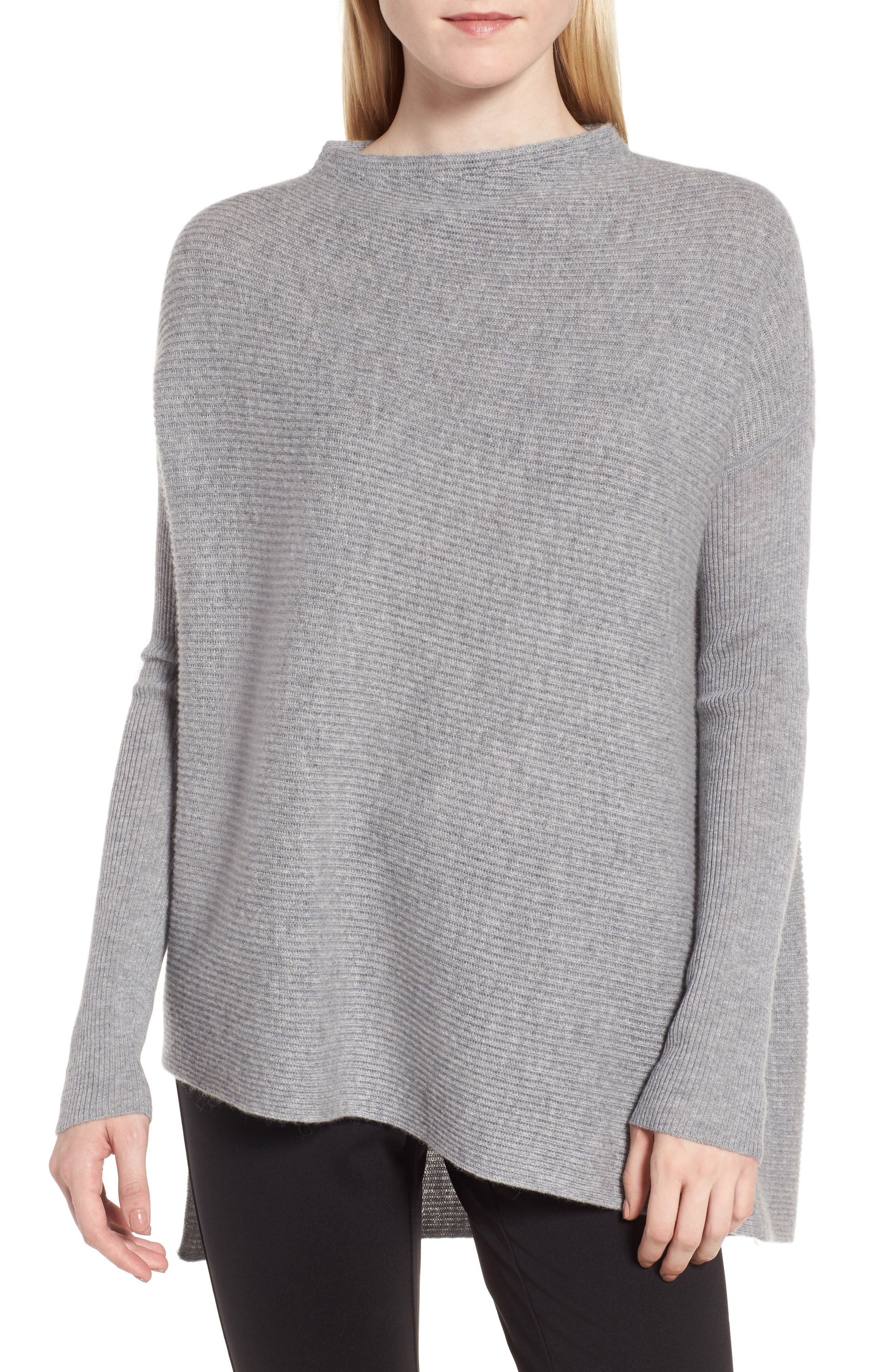 NORDSTROM SIGNATURE, Cashmere Asymmetrical Pullover, Main thumbnail 1, color, GREY FILIGREE HEATHER