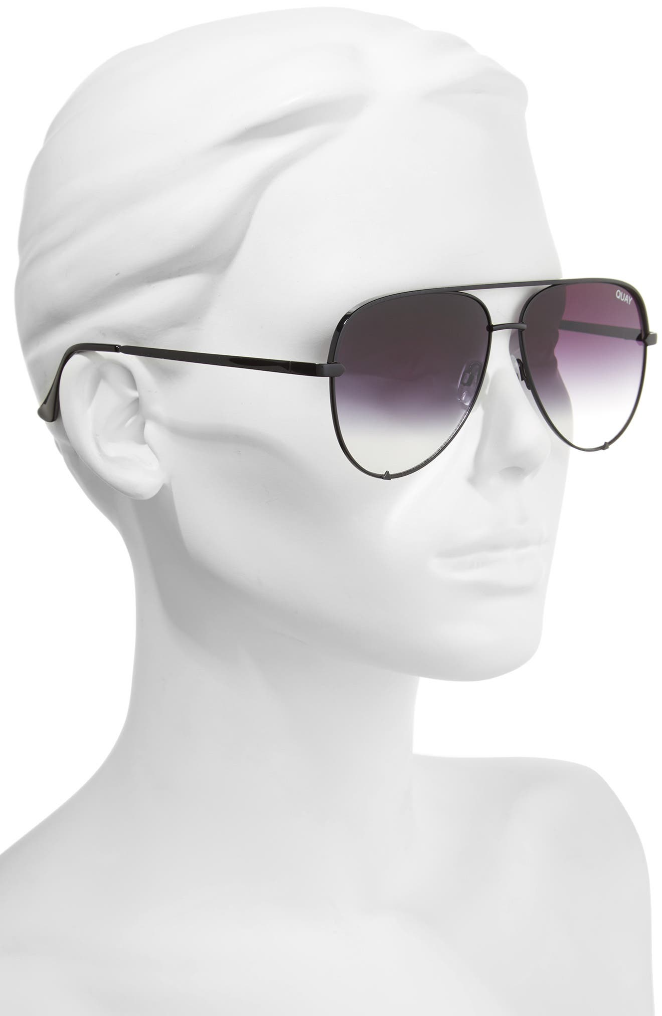 QUAY AUSTRALIA, x Desi Perkins High Key 62mm Aviator Sunglasses, Alternate thumbnail 2, color, BLACK FADE TO CLEAR