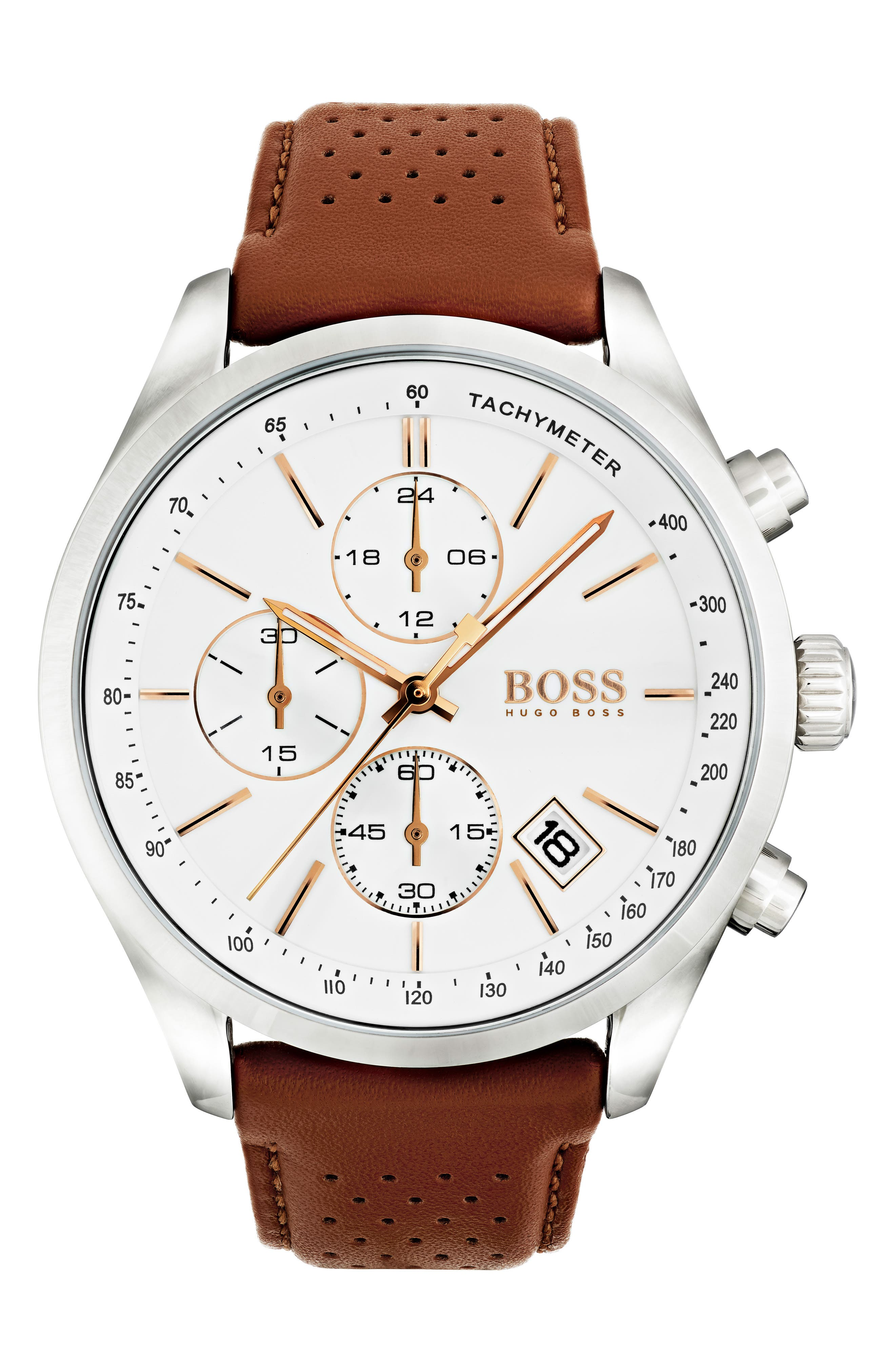HUGO, BOSS Grand Prix Chronograph Leather Strap Watch, Main thumbnail 1, color, BROWN/ WHITE/ SILVER