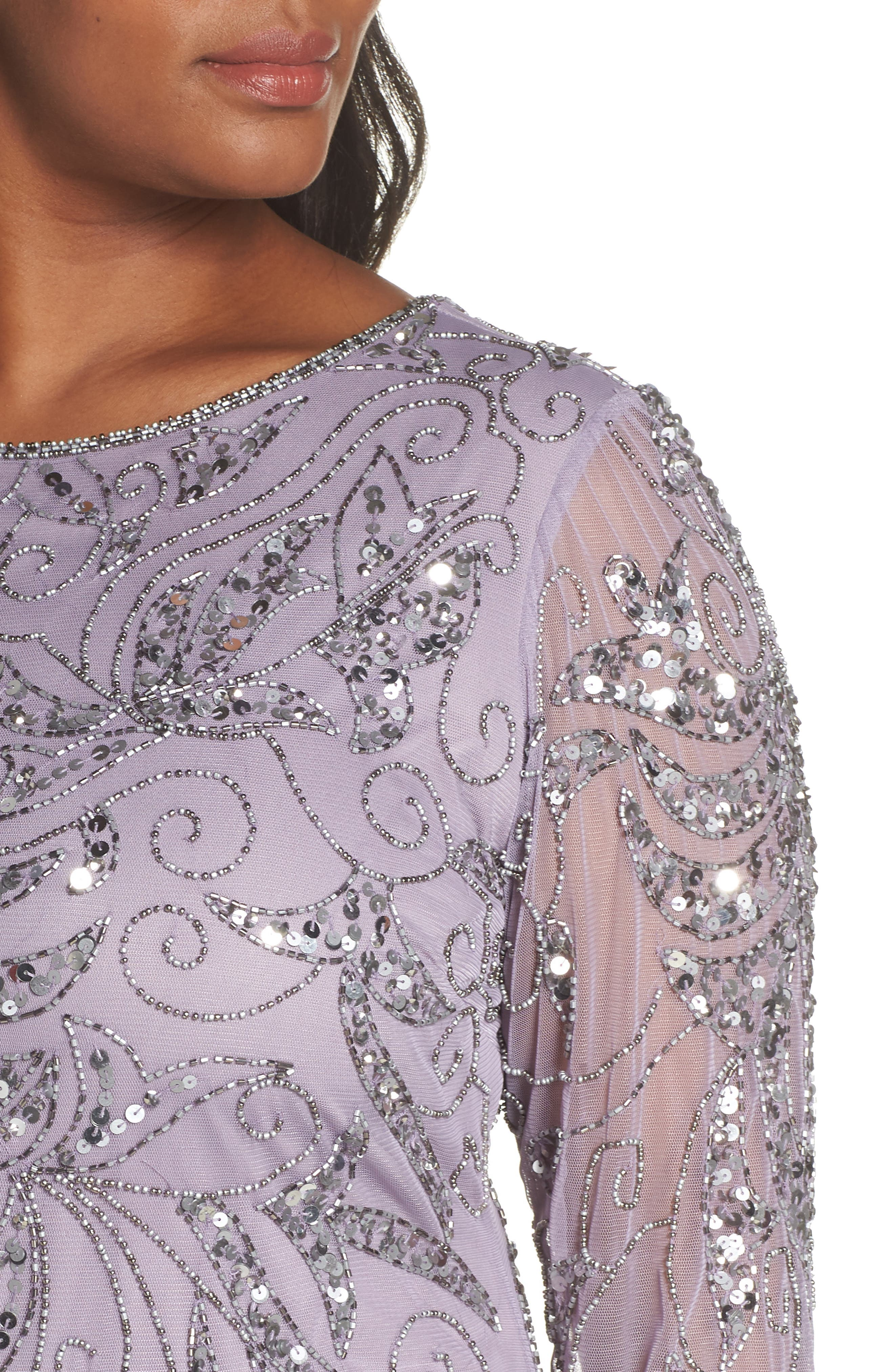 PISARRO NIGHTS, Embellished Three Quarter Sleeve Gown, Alternate thumbnail 5, color, NEW LAVENDER