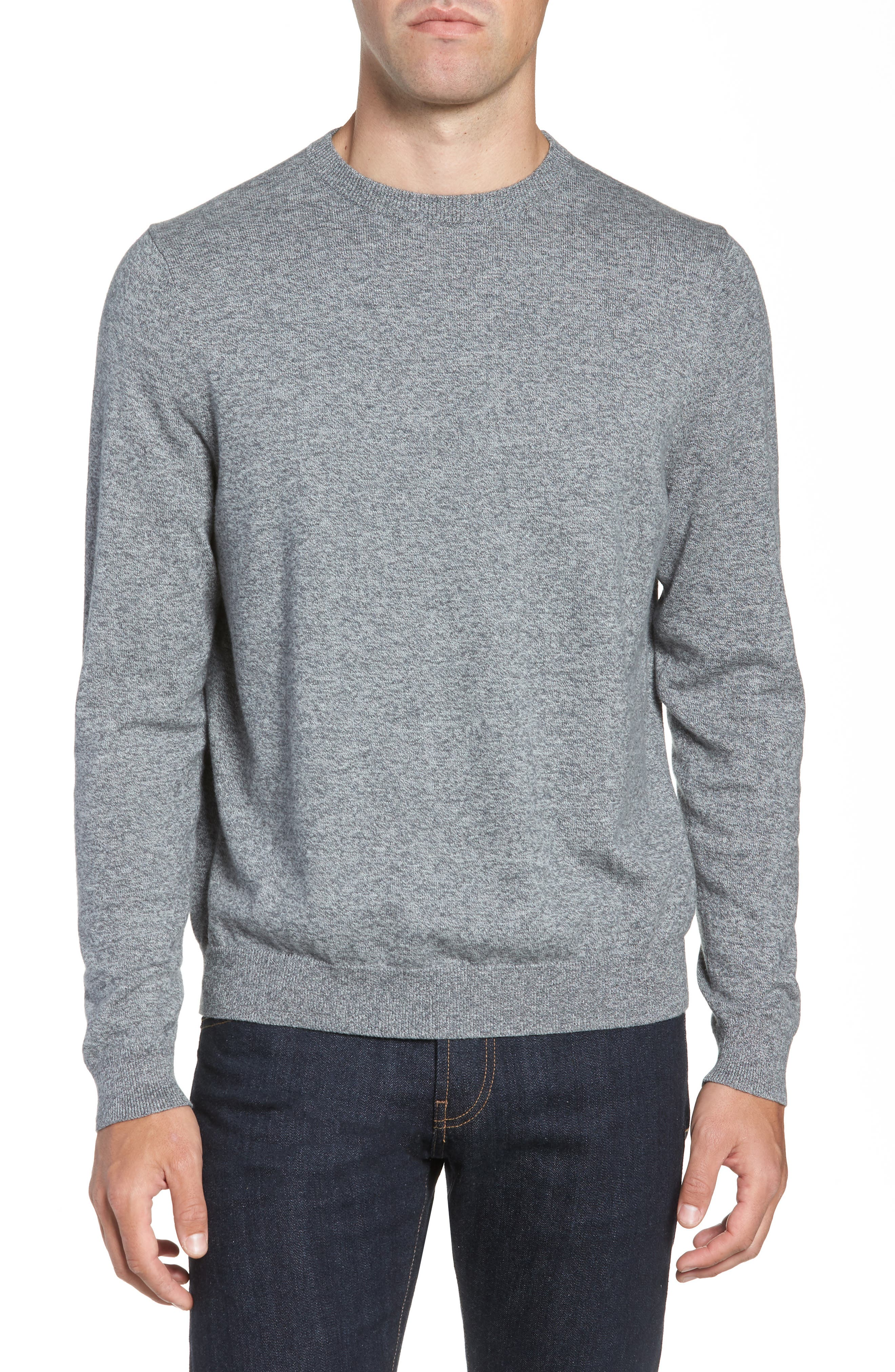 NORDSTROM MEN'S SHOP, Cotton & Cashmere Crewneck Sweater, Main thumbnail 1, color, GREY SHADE MARL