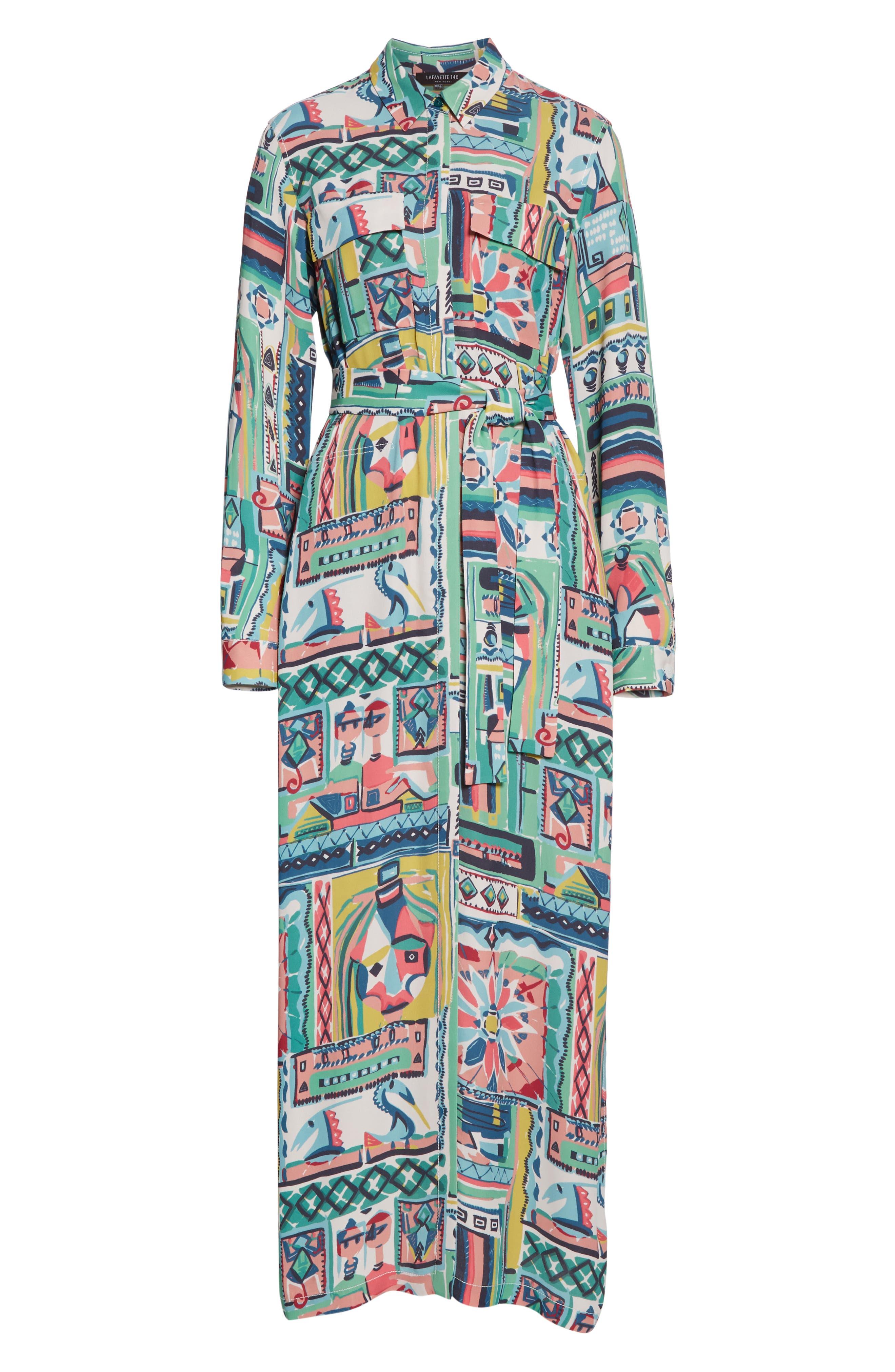 LAFAYETTE 148 NEW YORK, Doha Palazzo Patchwork Print Maxi Shirtdress, Alternate thumbnail 6, color, 400