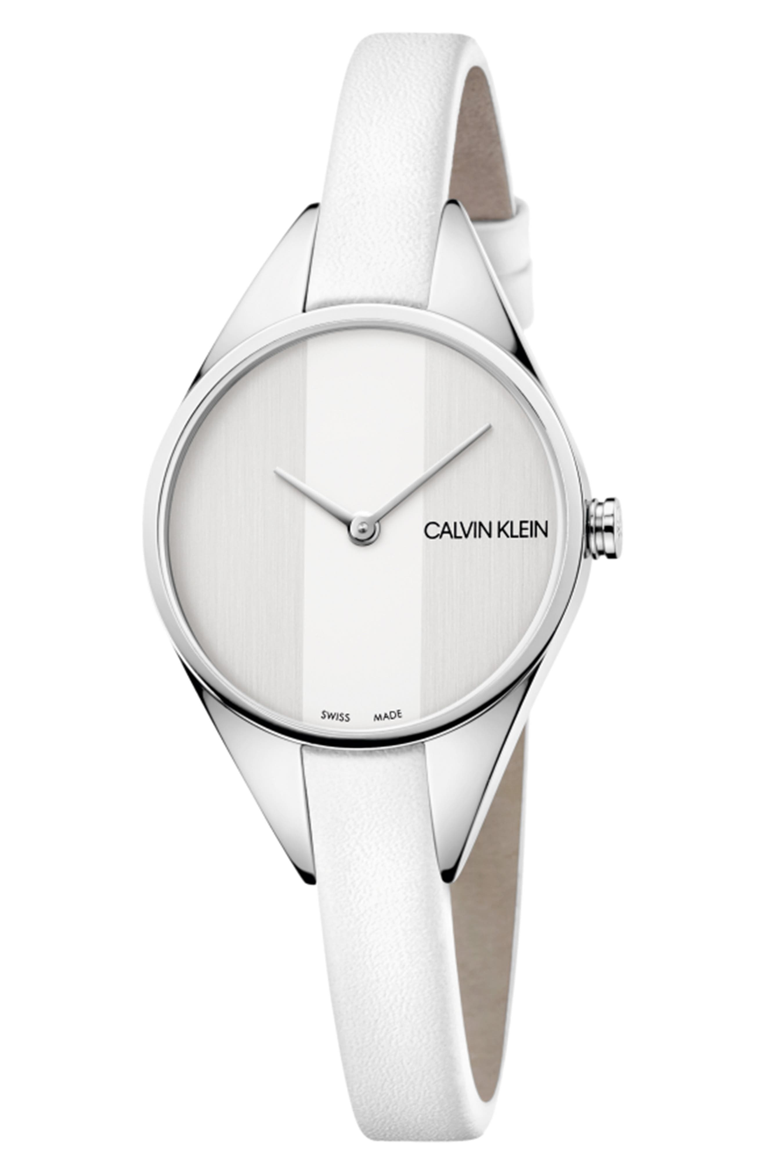 CALVIN KLEIN, Achieve Rebel Leather Band Watch, 29mm, Main thumbnail 1, color, WHITE/ SILVER