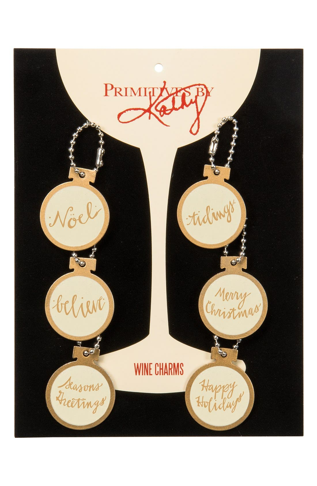 PRIMITIVES BY KATHY, Set of 6 Wine Glass Charms, Main thumbnail 1, color, 710
