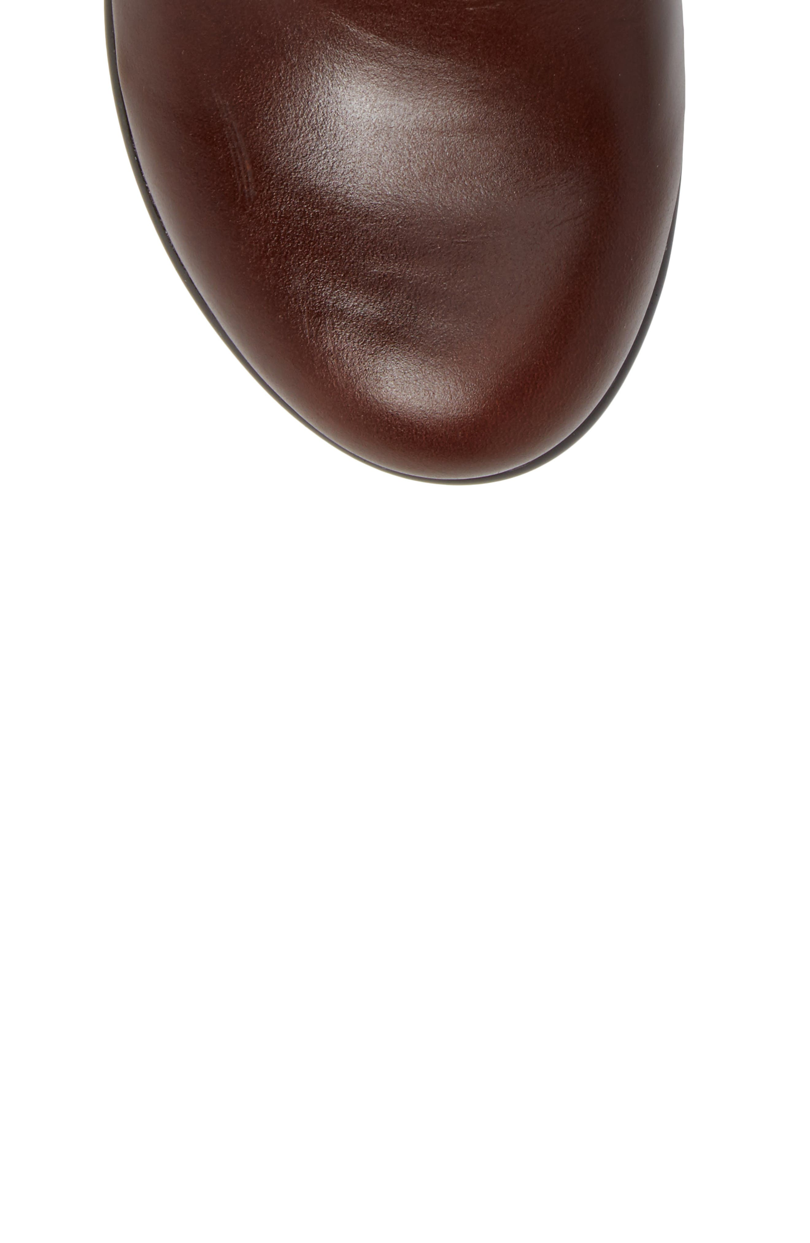 ALEGRIA, Eliza Water Resistant Bootie, Alternate thumbnail 5, color, CHESTNUT LUSTER LEATHER